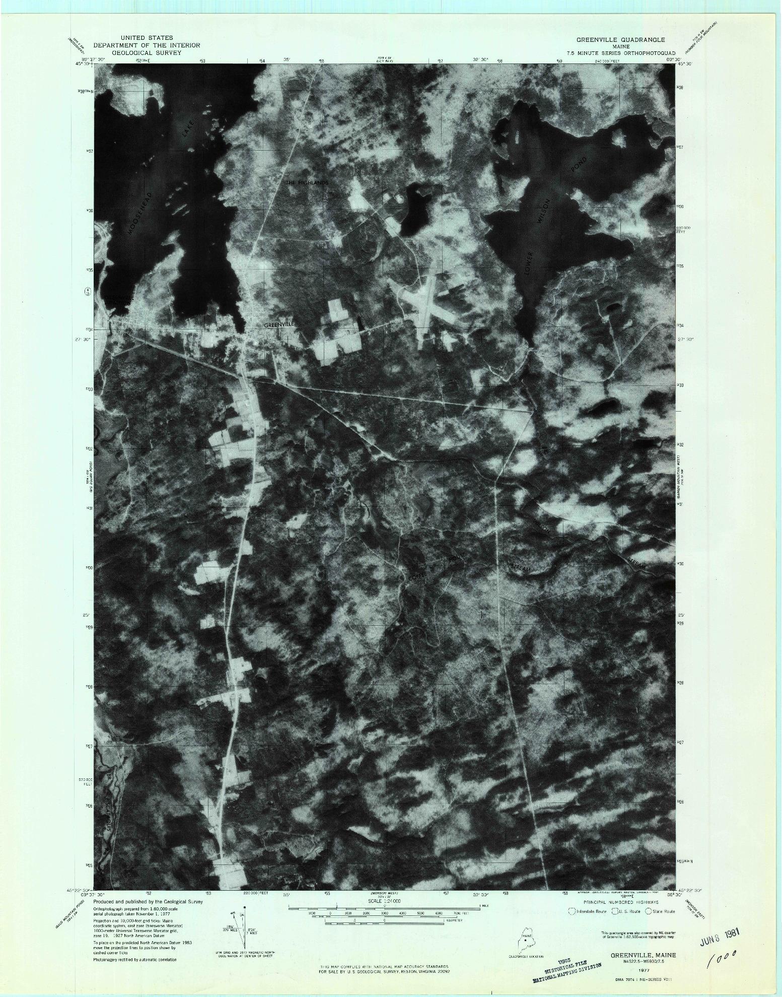 USGS 1:24000-SCALE QUADRANGLE FOR GREENVILLE, ME 1977