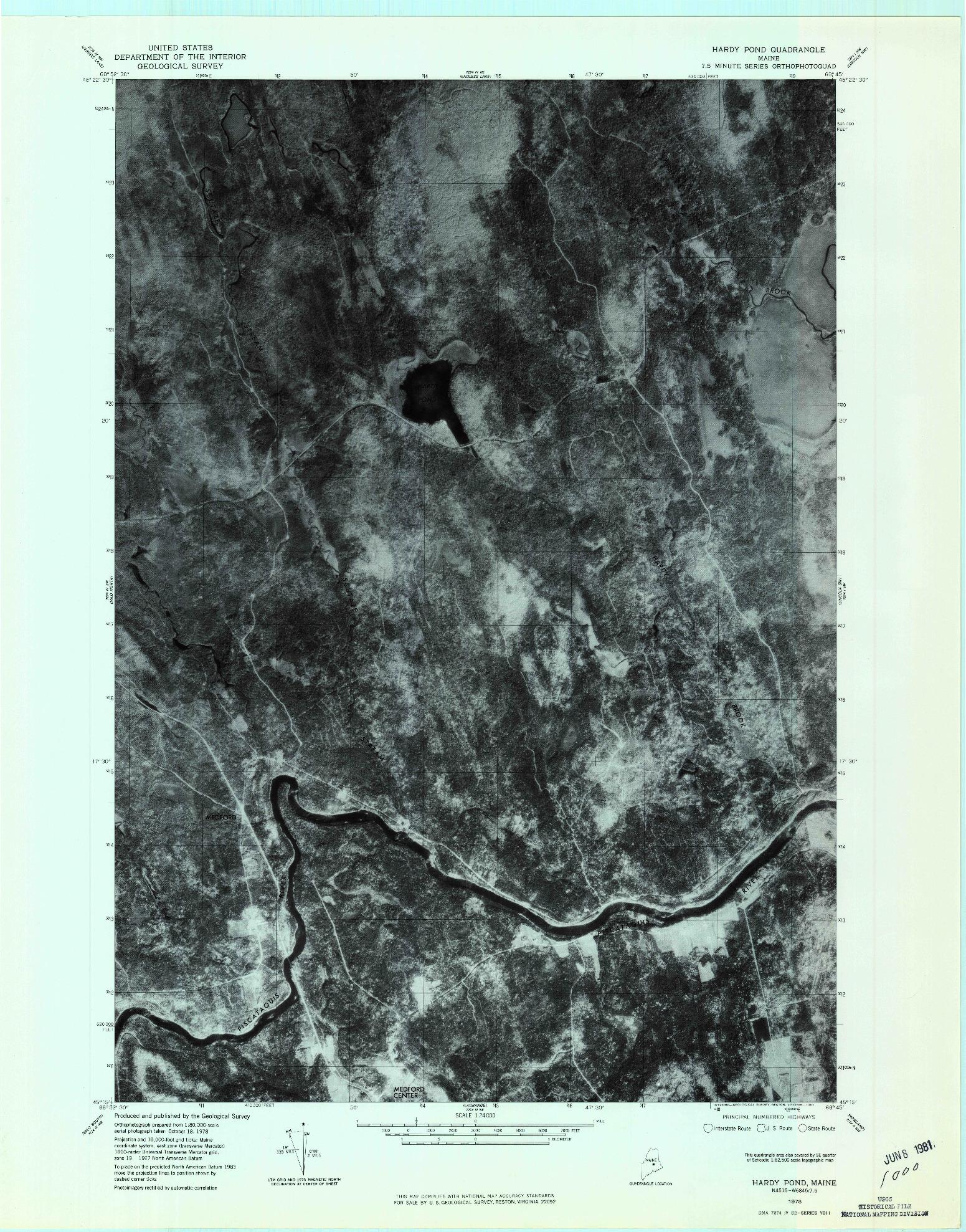 USGS 1:24000-SCALE QUADRANGLE FOR HARDY POND, ME 1978