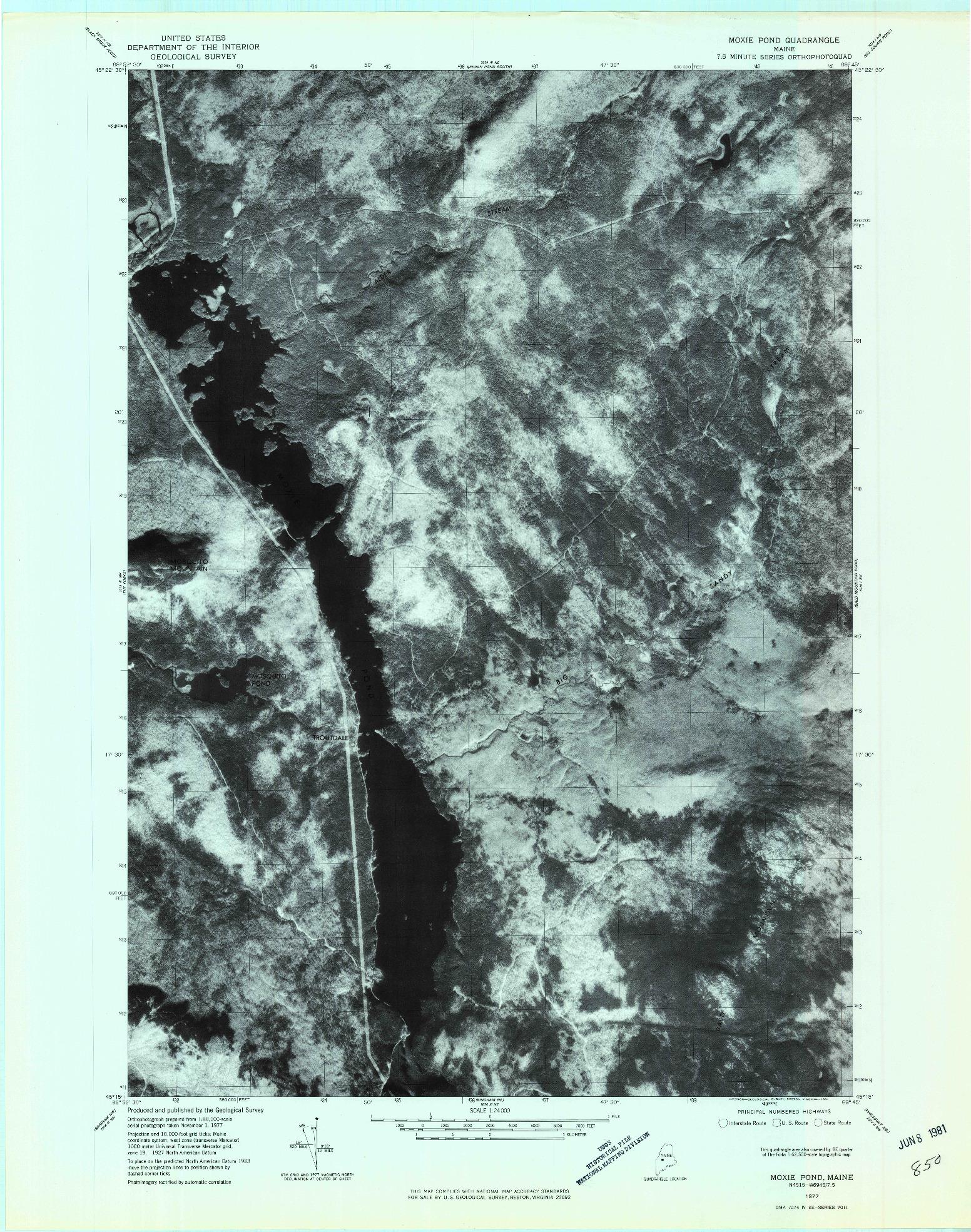 USGS 1:24000-SCALE QUADRANGLE FOR MOXIE POND, ME 1977