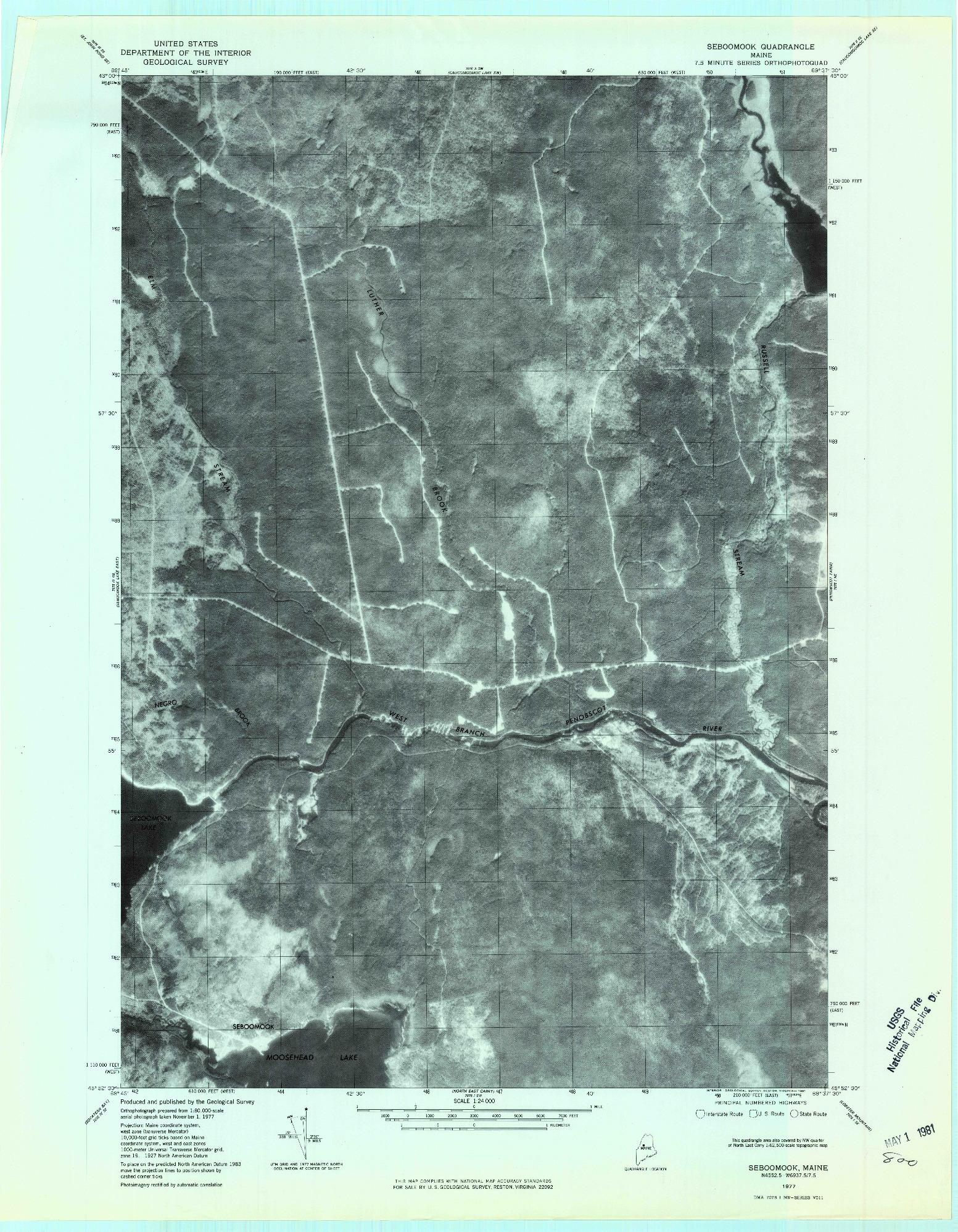 USGS 1:24000-SCALE QUADRANGLE FOR SEBOOMOOK, ME 1977