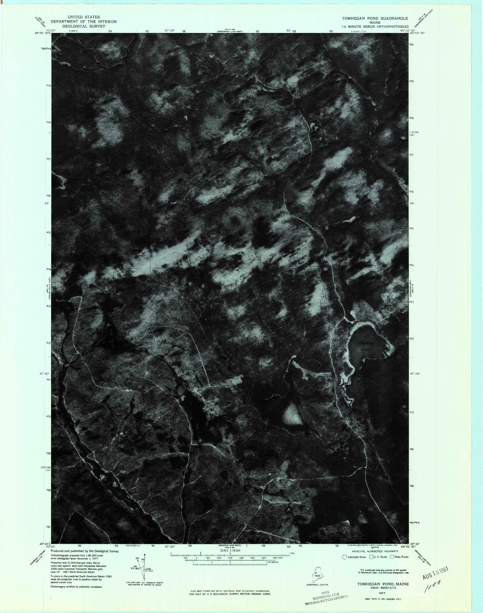 USGS 1:24000-SCALE QUADRANGLE FOR TOMHEGAN POND, ME 1977