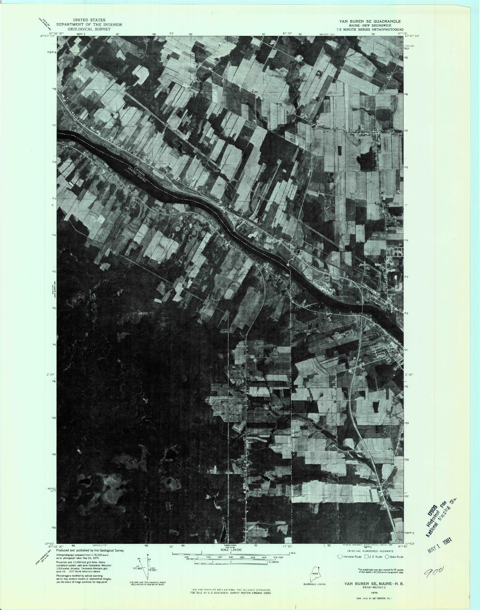 USGS 1:24000-SCALE QUADRANGLE FOR VAN BUREN SE, ME 1975