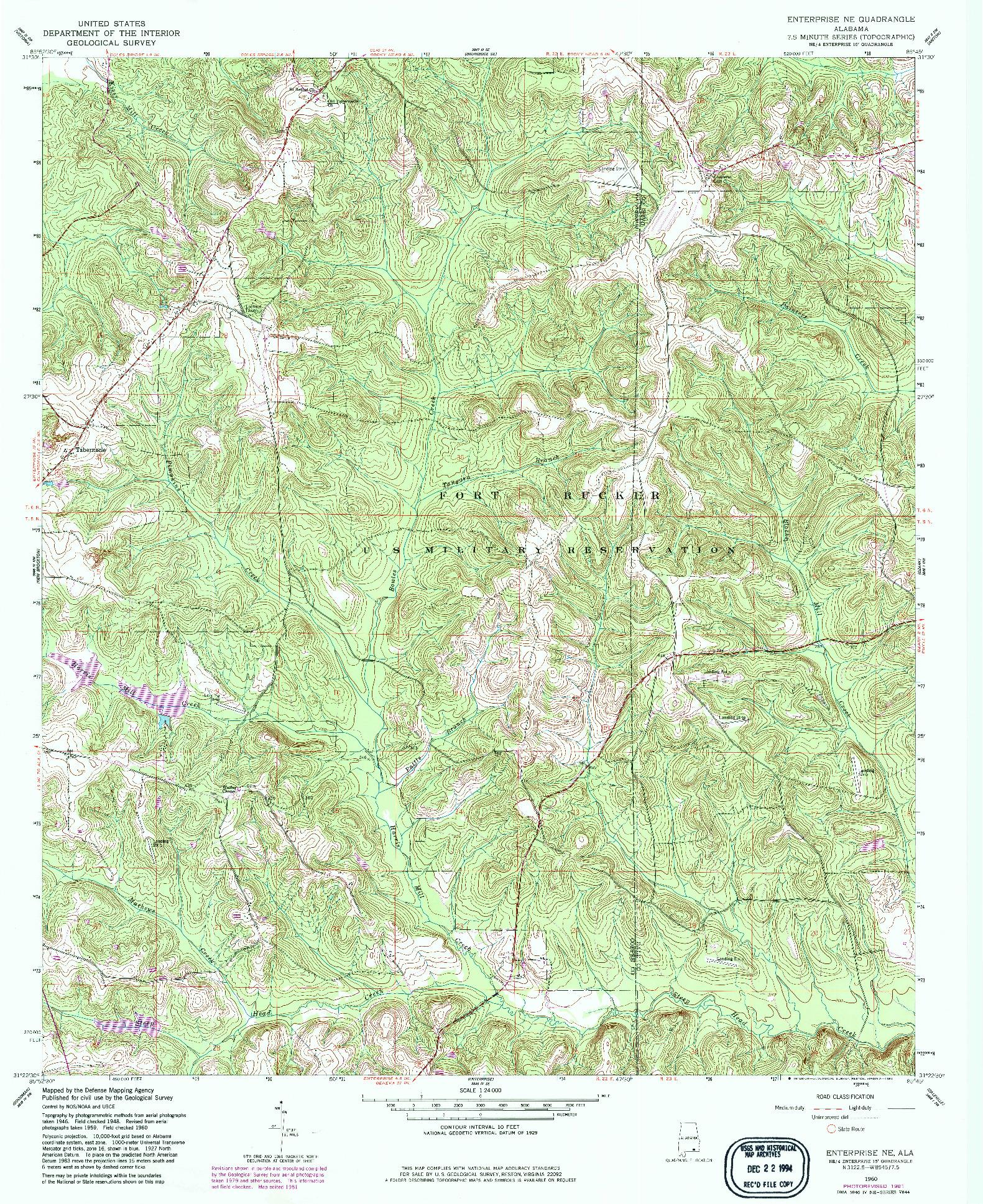 USGS 1:24000-SCALE QUADRANGLE FOR ENTERPRISE NE, AL 1960