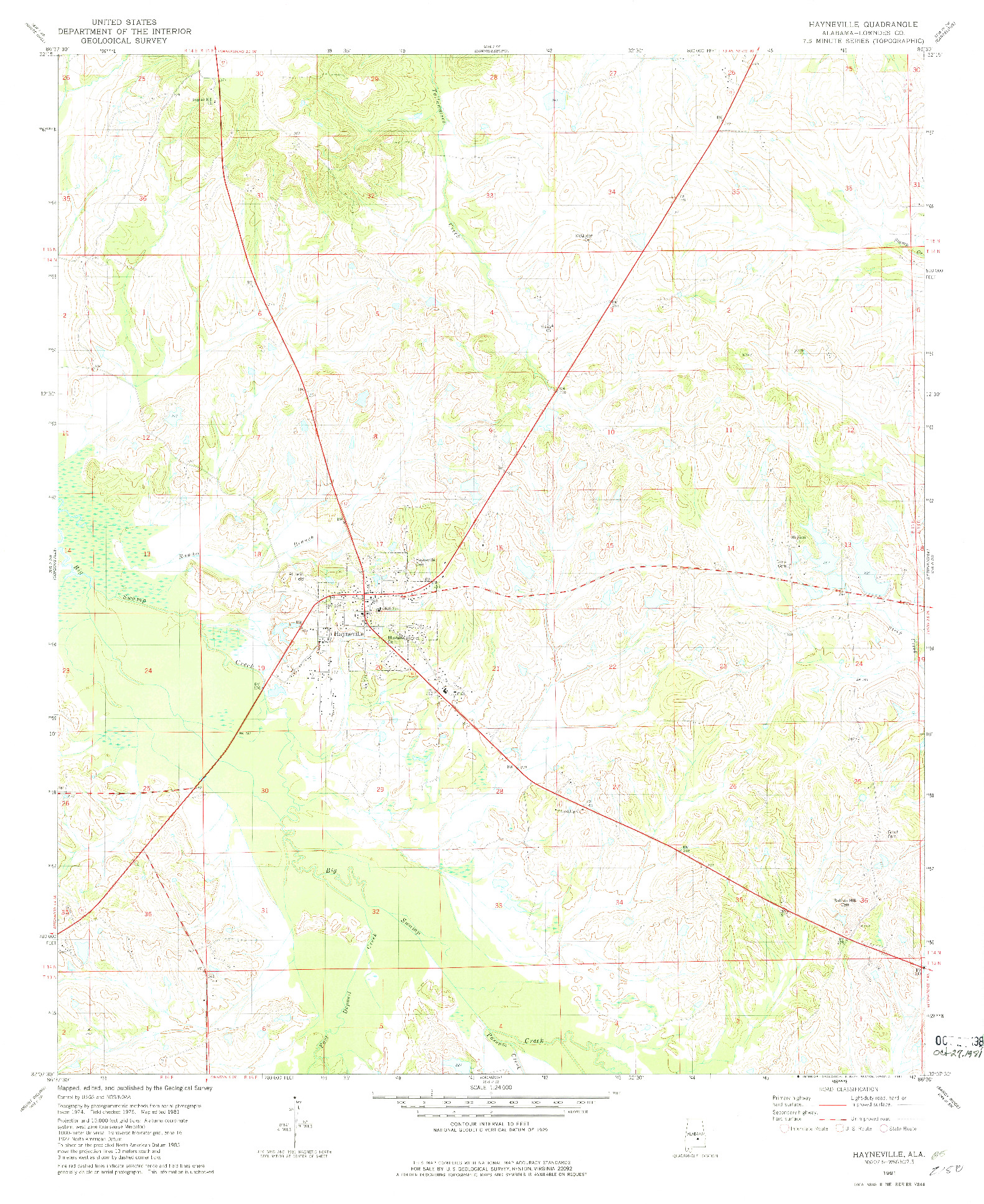 USGS 1:24000-SCALE QUADRANGLE FOR HAYNEVILLE, AL 1981