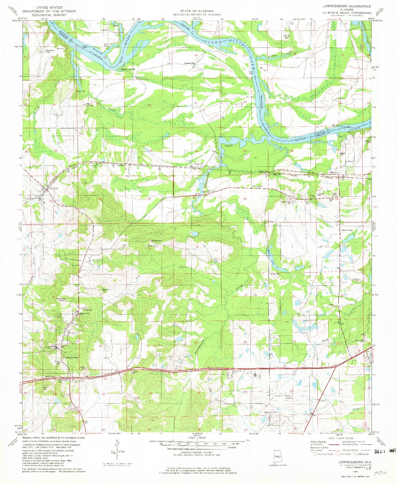 USGS 1:24000-SCALE QUADRANGLE FOR LOWNDESBORO, AL 1981