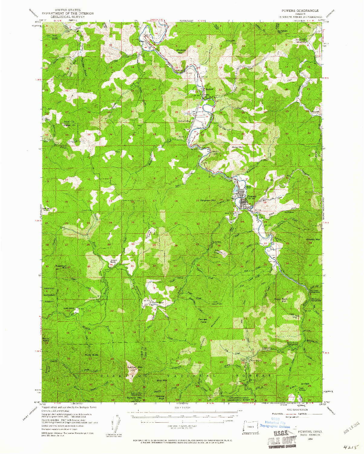 USGS 1:62500-SCALE QUADRANGLE FOR POWERS, OR 1954