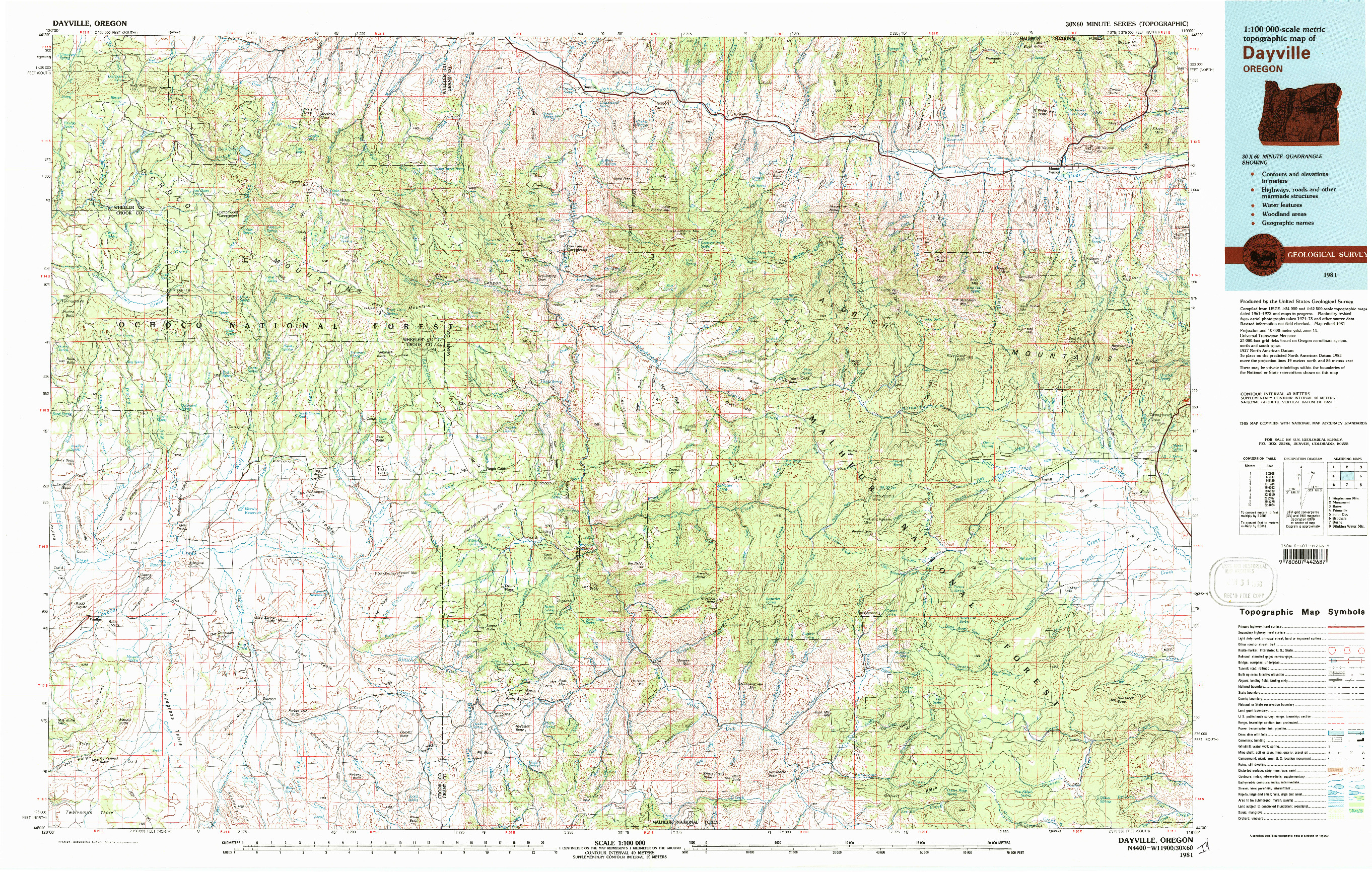 USGS 1:100000-SCALE QUADRANGLE FOR DAYVILLE, OR 1981