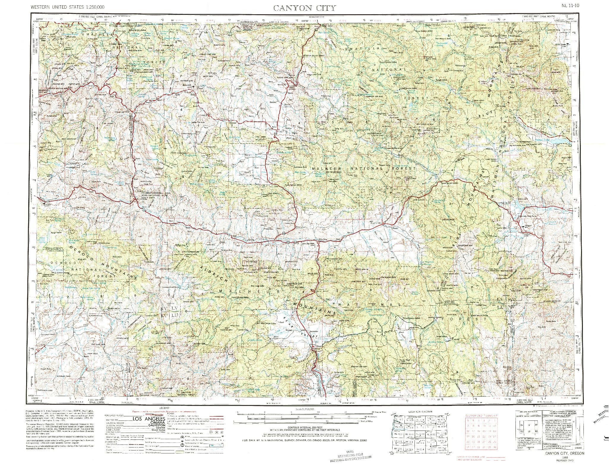 USGS 1:250000-SCALE QUADRANGLE FOR CANYON CITY, OR 1955