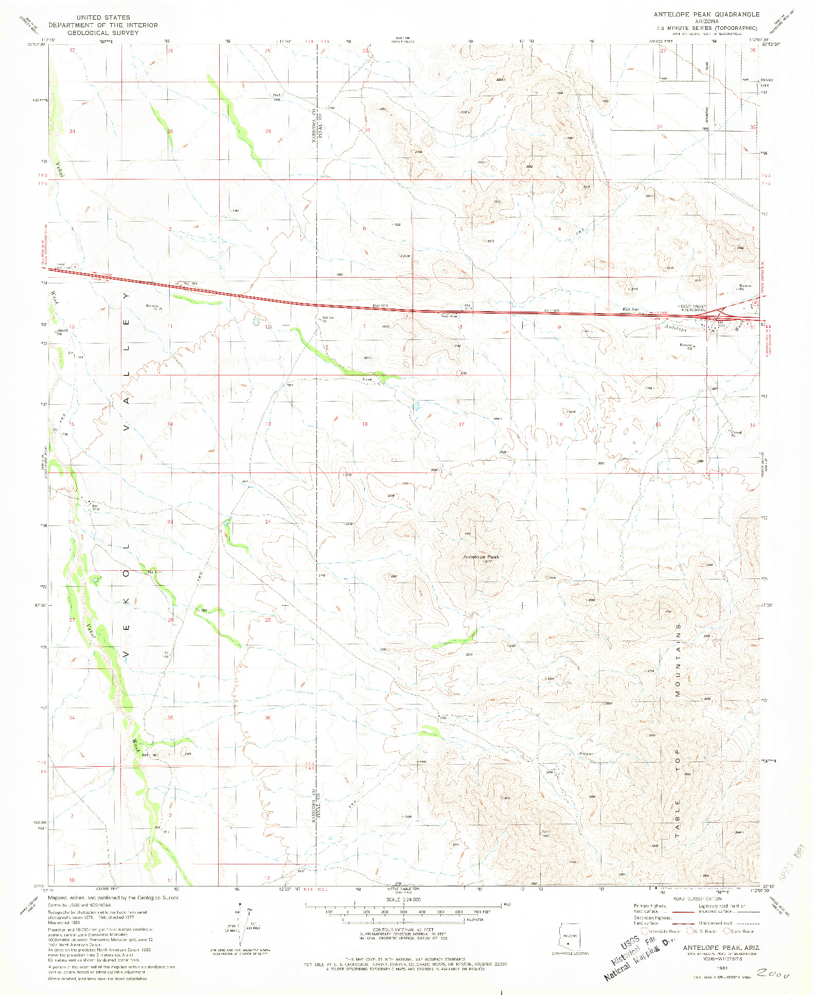 USGS 1:24000-SCALE QUADRANGLE FOR ANTELOPE PEAK, AZ 1981