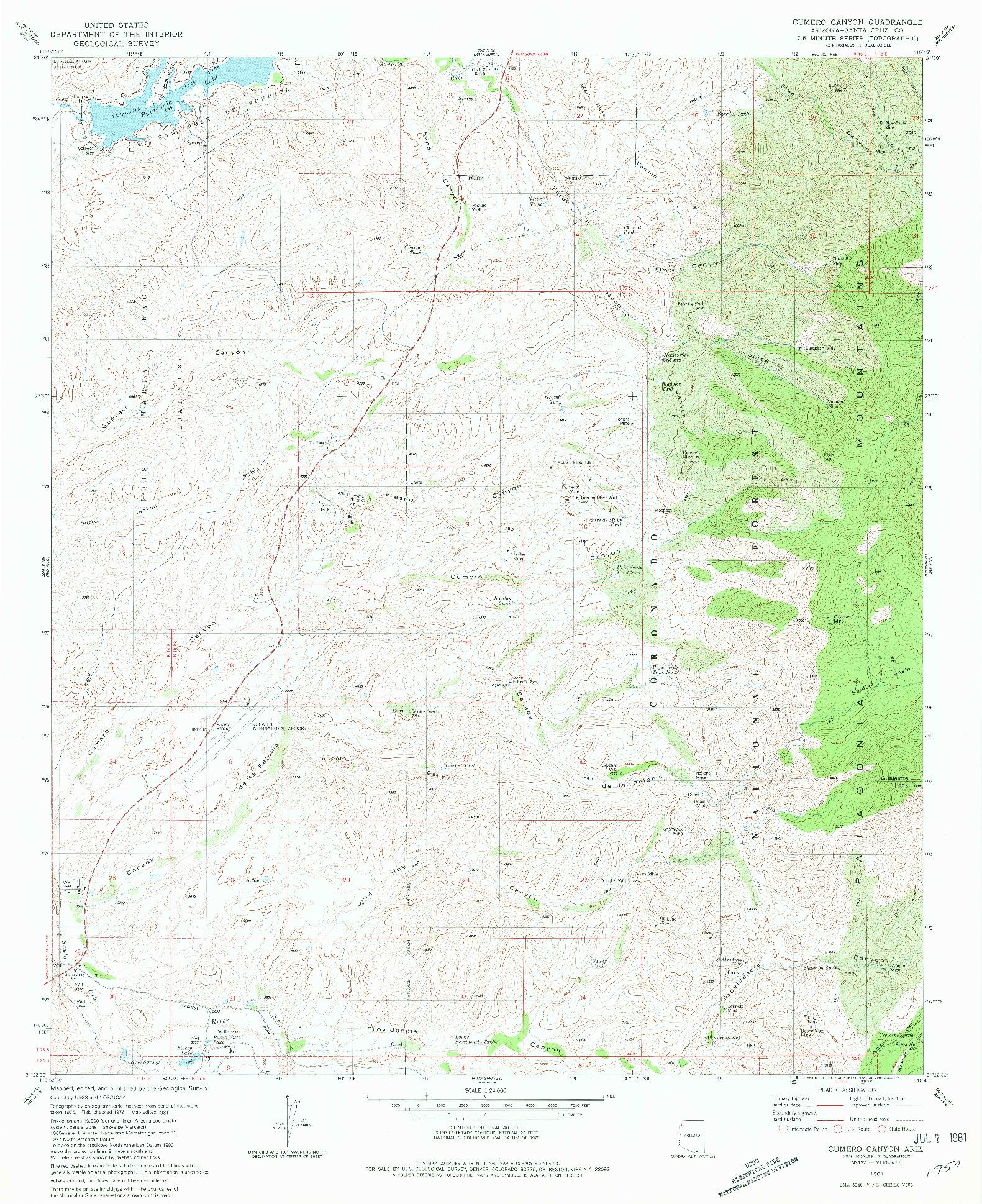 USGS 1:24000-SCALE QUADRANGLE FOR CUMERO CANYON, AZ 1981