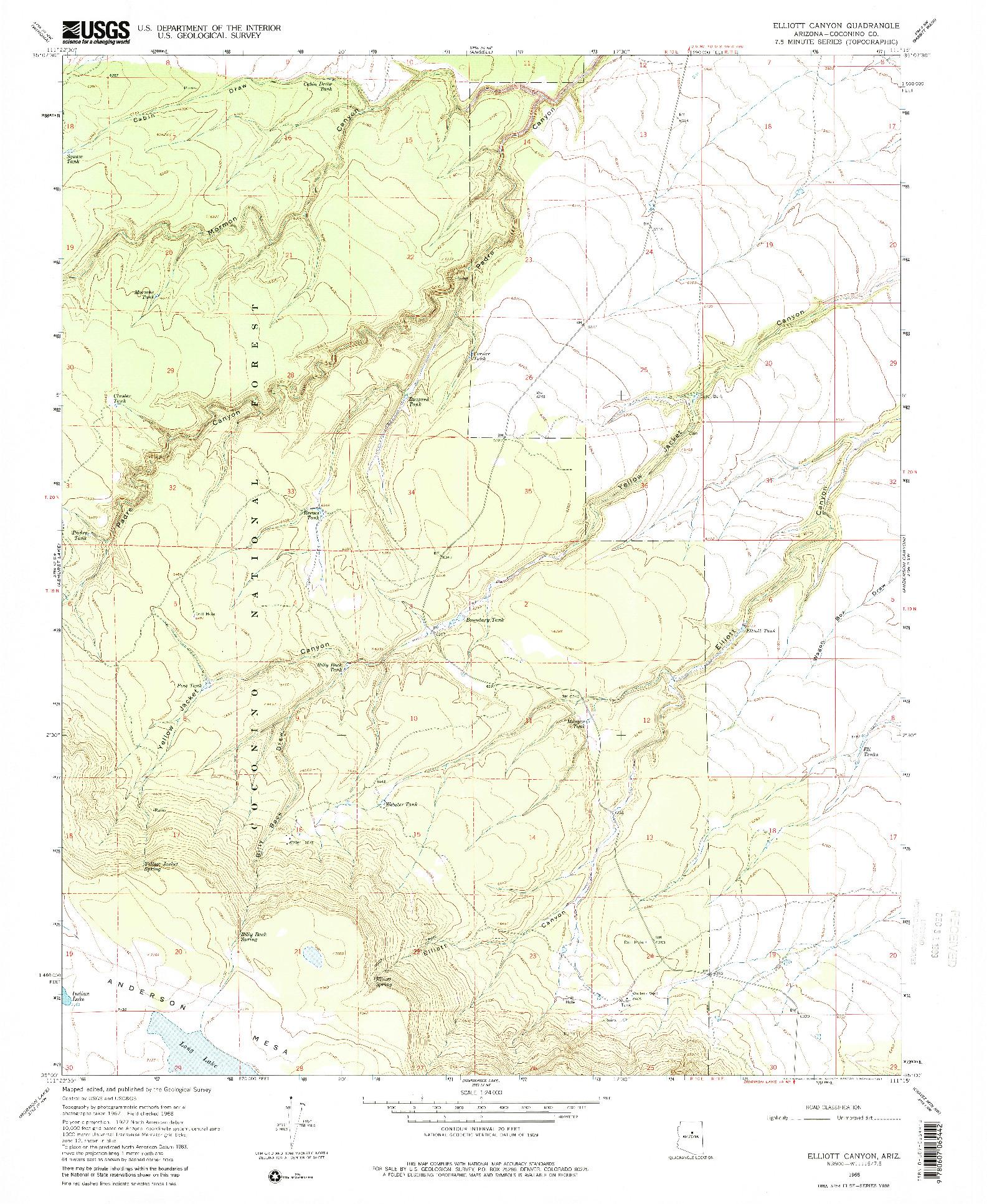 USGS 1:24000-SCALE QUADRANGLE FOR ELLIOTT CANYON, AZ 1968