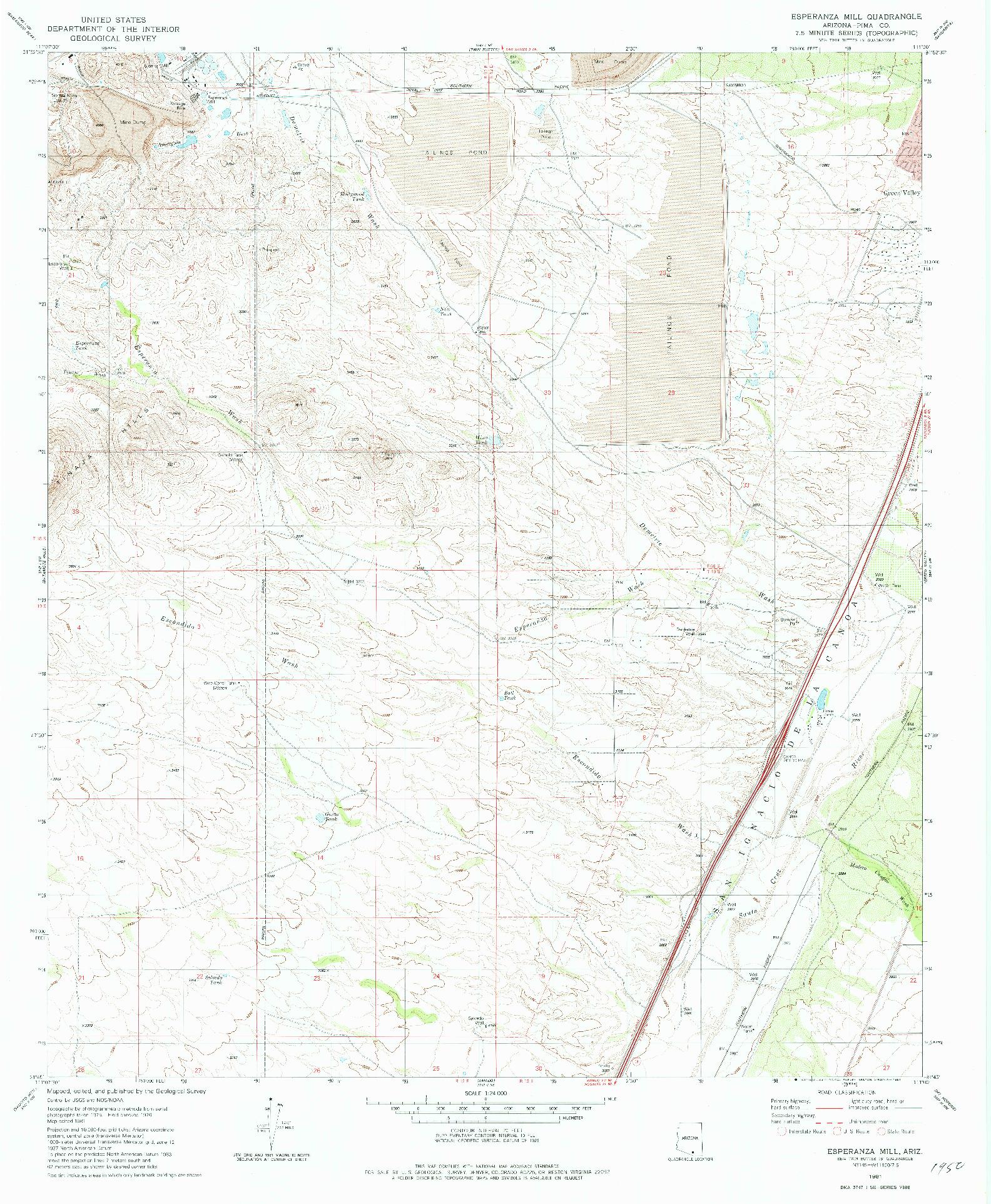 USGS 1:24000-SCALE QUADRANGLE FOR ESPERANZA MILL, AZ 1981