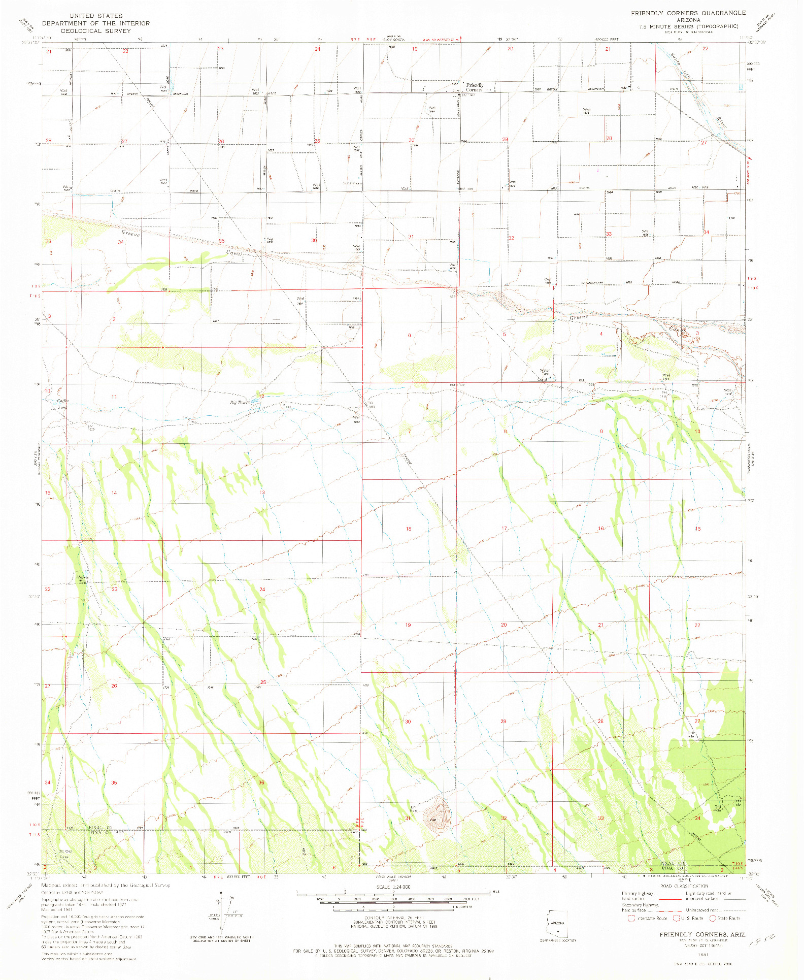 USGS 1:24000-SCALE QUADRANGLE FOR FRIENDLY CORNERS, AZ 1981