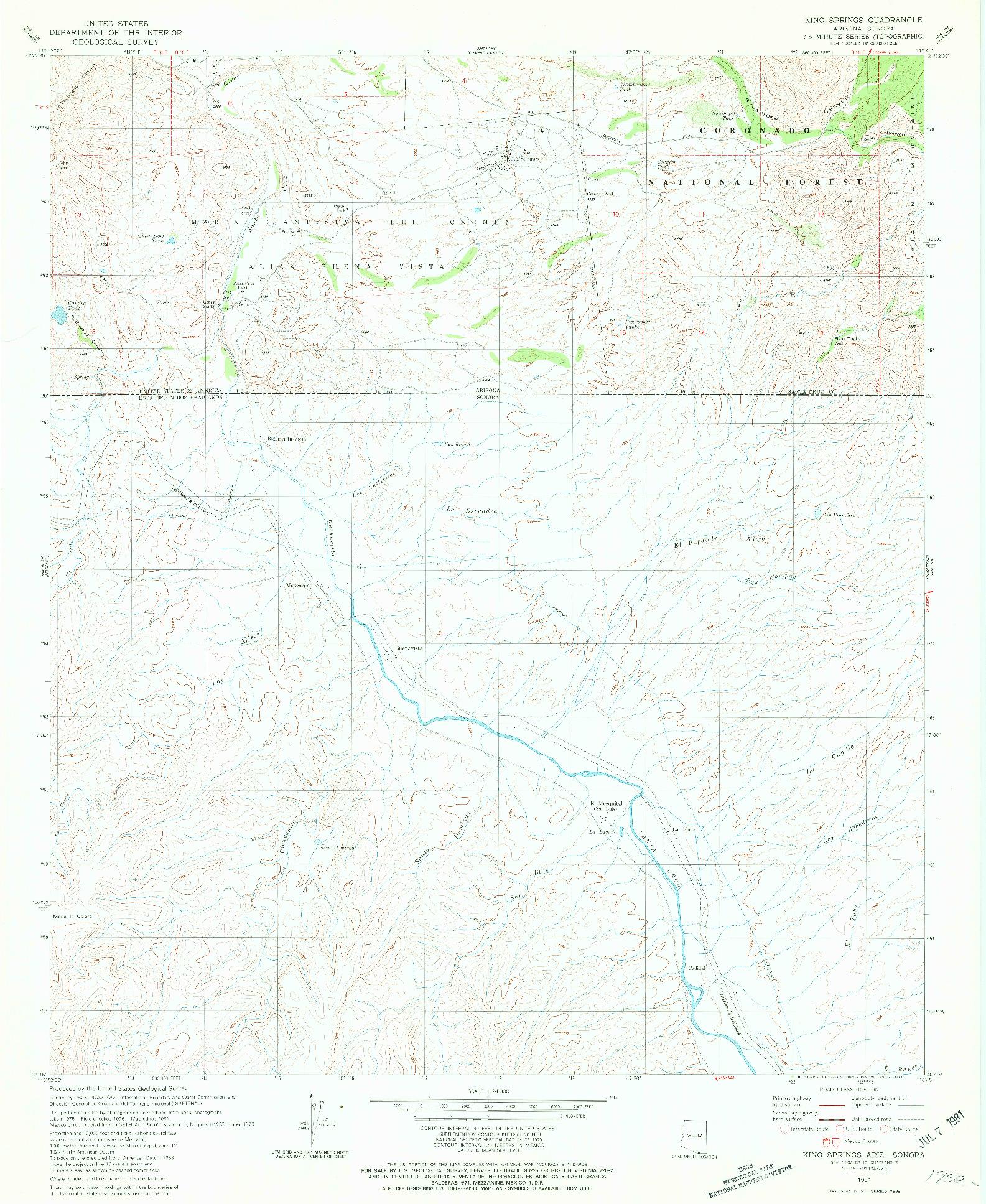 USGS 1:24000-SCALE QUADRANGLE FOR KINO SPRINGS, AZ 1981