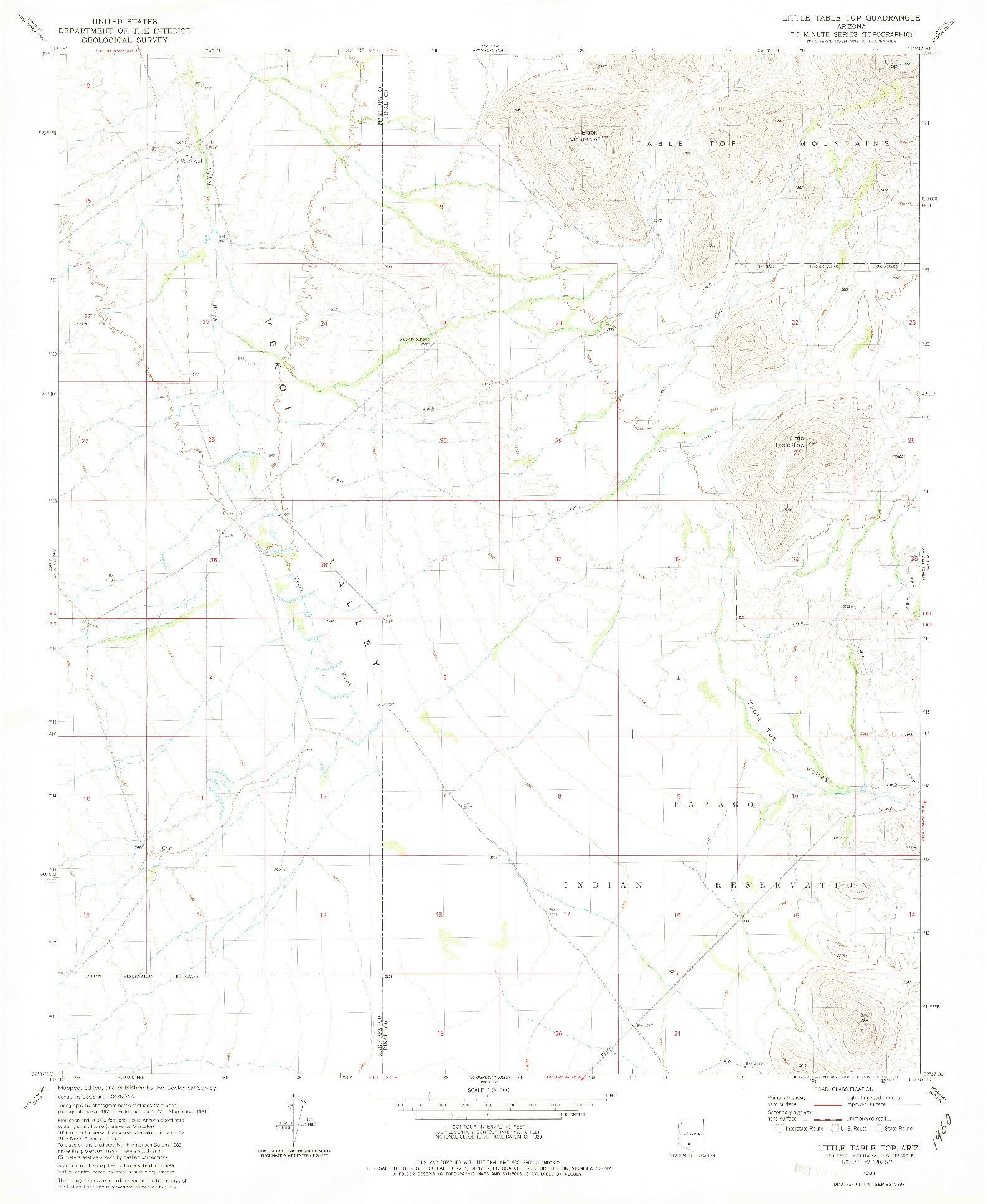 USGS 1:24000-SCALE QUADRANGLE FOR LITTLE TABLE TOP, AZ 1981