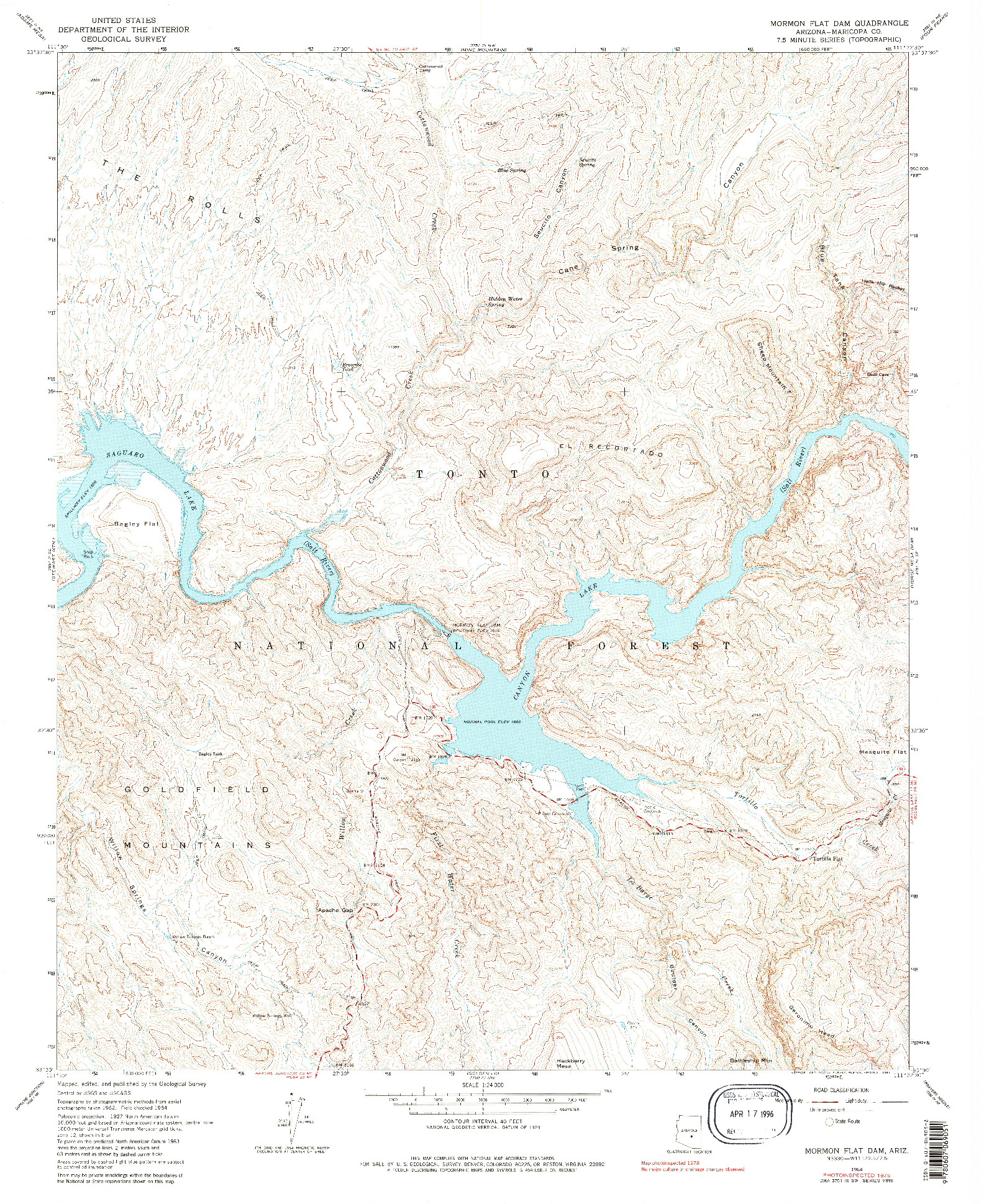 USGS 1:24000-SCALE QUADRANGLE FOR MORMON FLAT DAM, AZ 1964