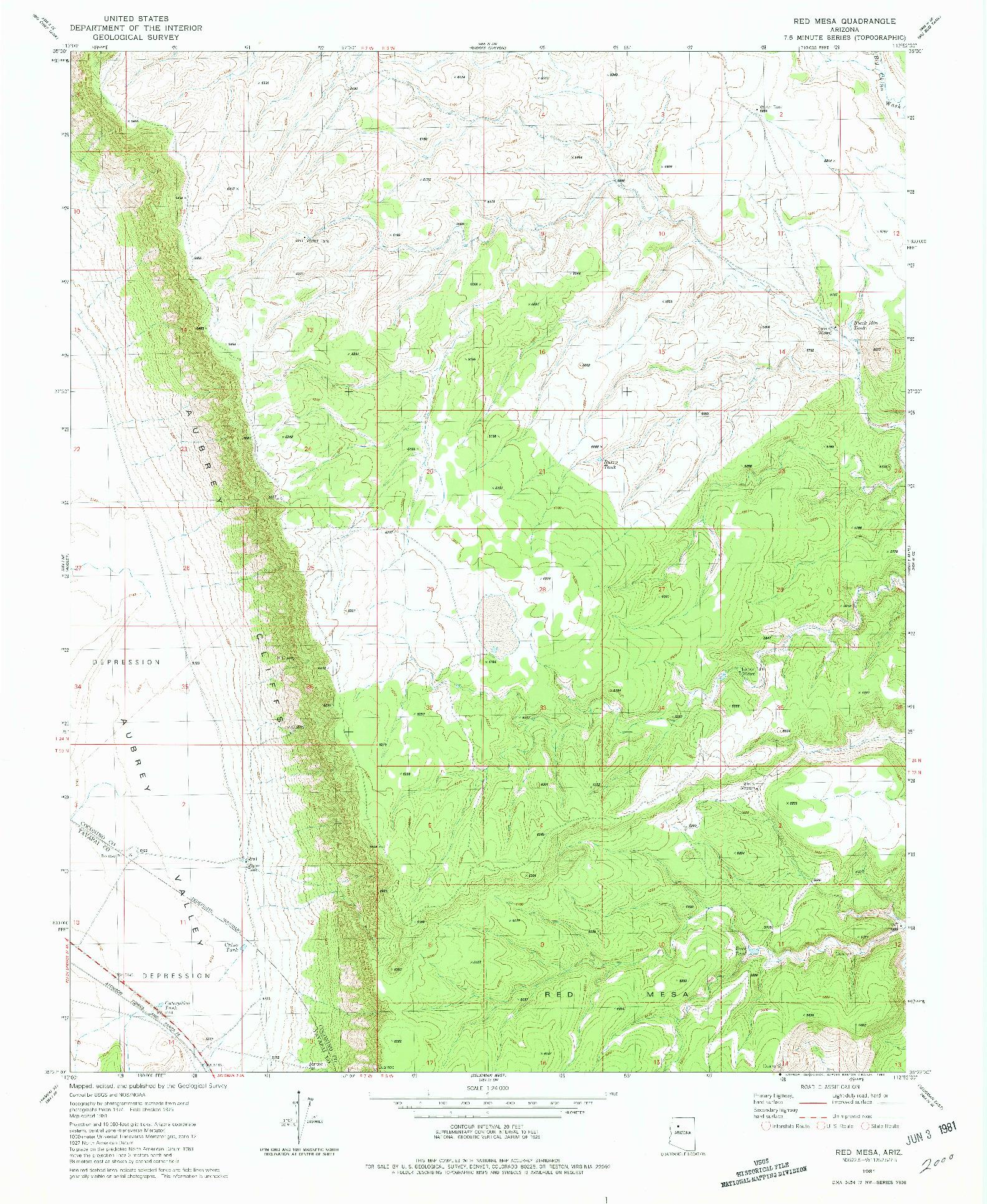 USGS 1:24000-SCALE QUADRANGLE FOR RED MESA, AZ 1981