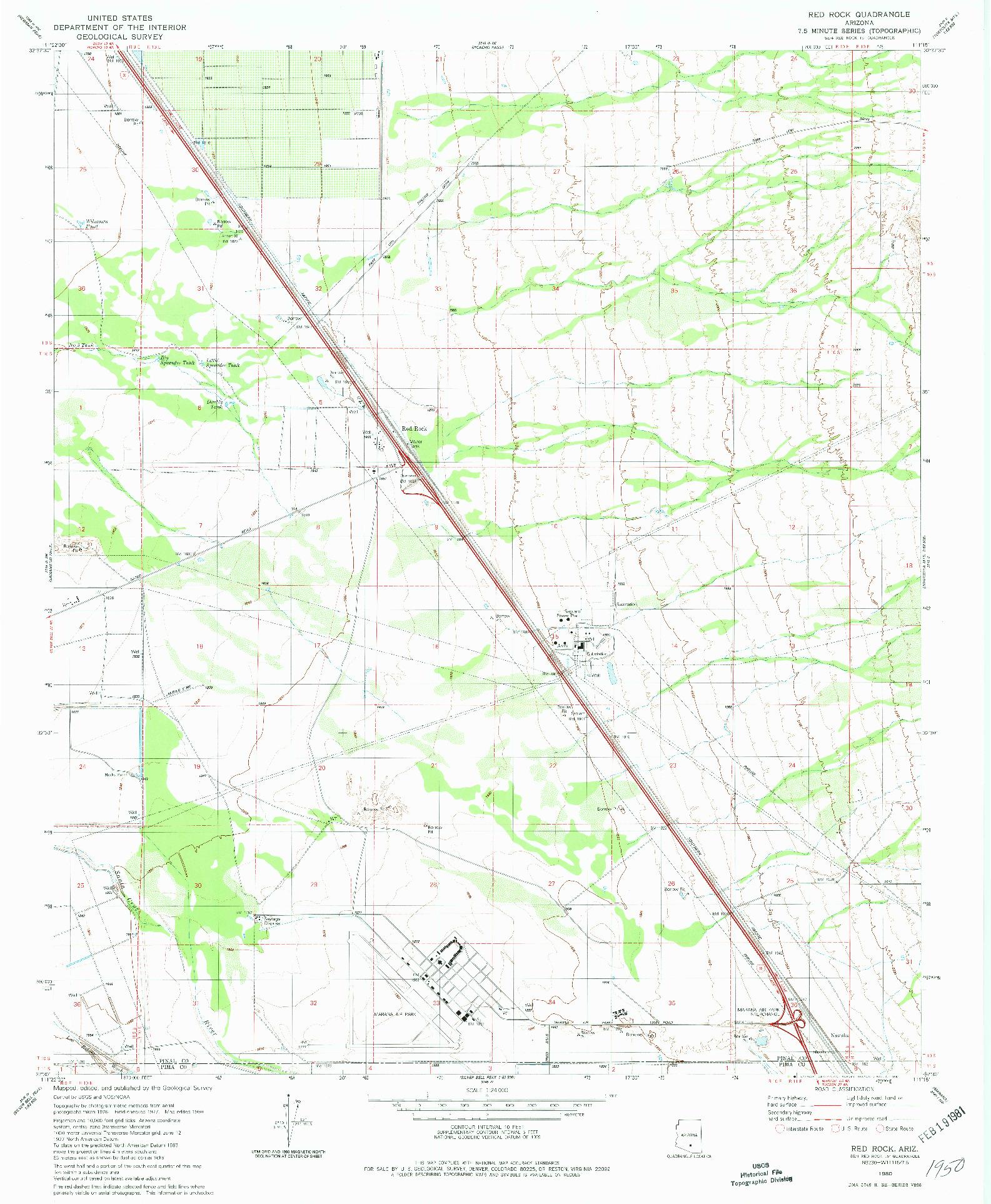 USGS 1:24000-SCALE QUADRANGLE FOR RED ROCK, AZ 1980