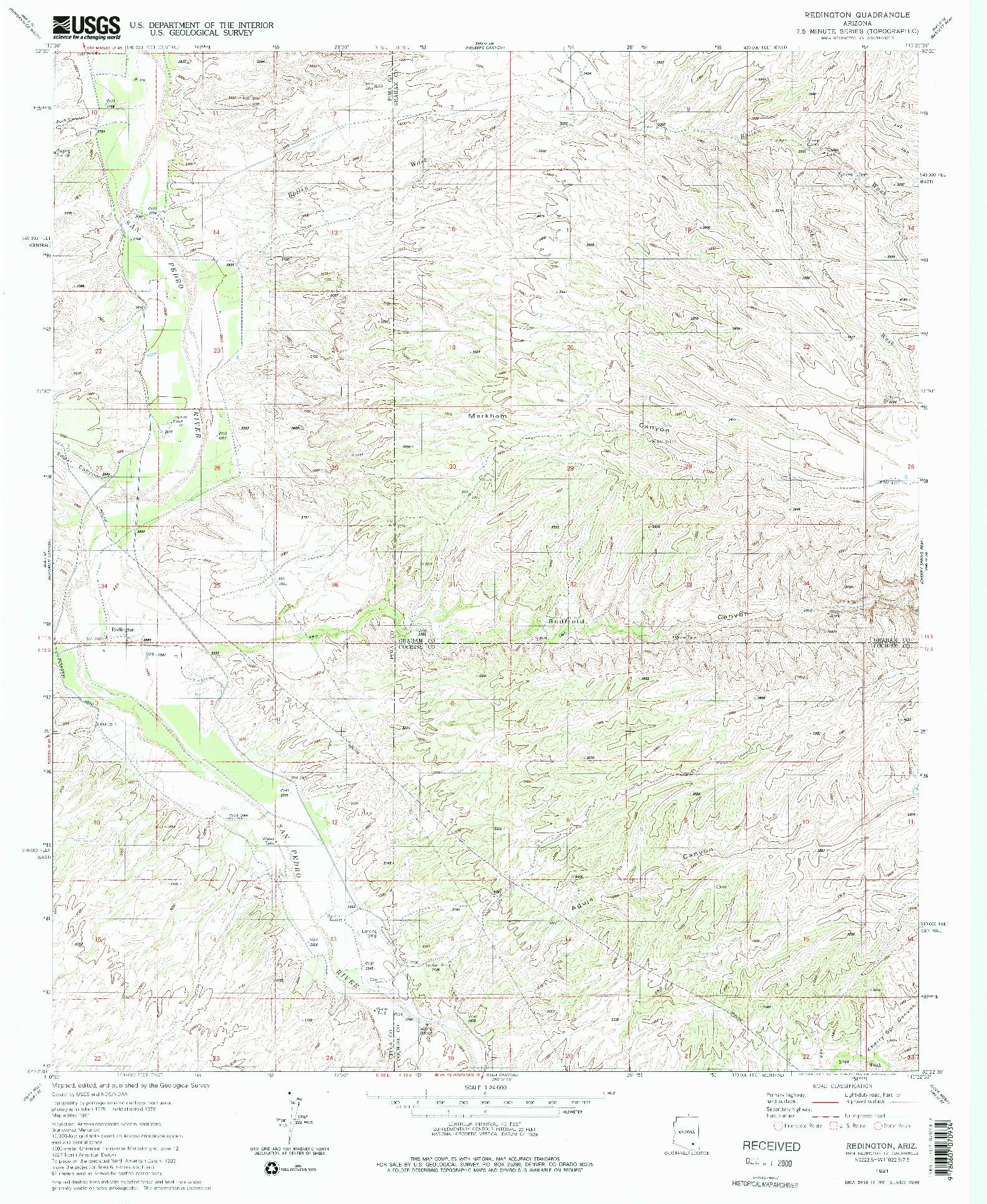 USGS 1:24000-SCALE QUADRANGLE FOR REDINGTON, AZ 1981