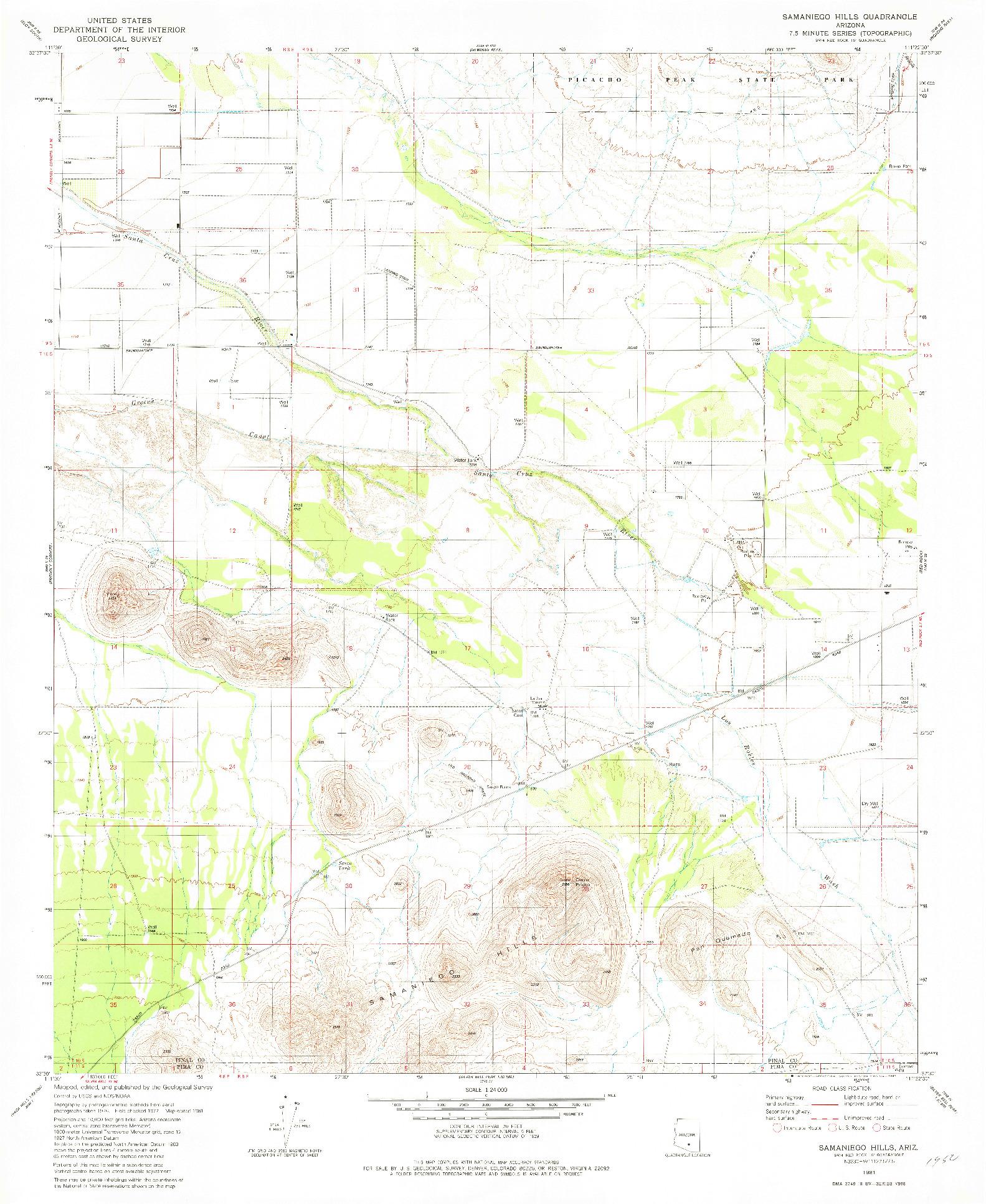 USGS 1:24000-SCALE QUADRANGLE FOR SAMANIEGO HILLS, AZ 1981