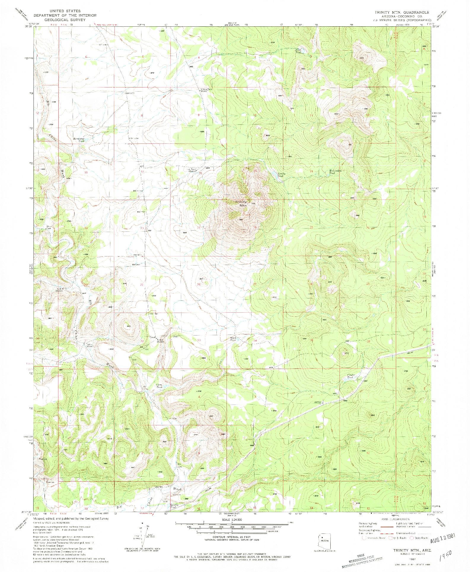 USGS 1:24000-SCALE QUADRANGLE FOR TRINITY MTN, AZ 1981