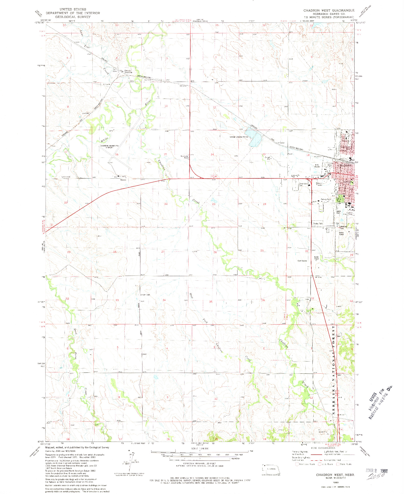 USGS 1:24000-SCALE QUADRANGLE FOR CHADRON WEST, NE 1980