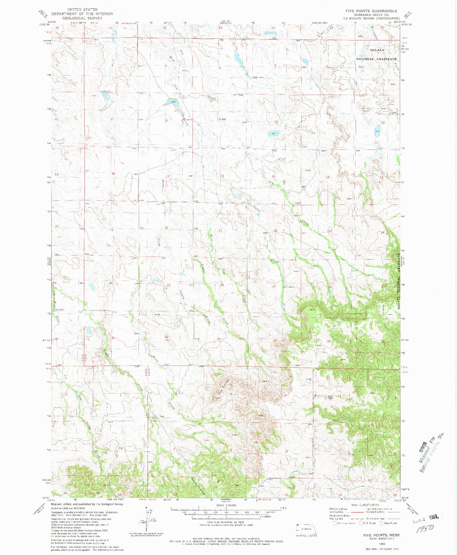 USGS 1:24000-SCALE QUADRANGLE FOR FIVE POINTS, NE 1980