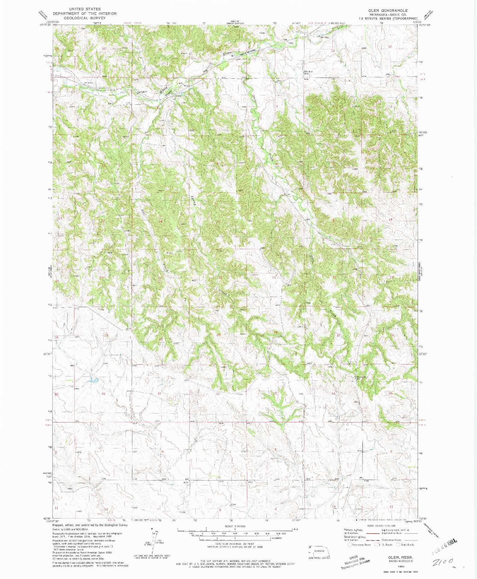 USGS 1:24000-SCALE QUADRANGLE FOR GLEN, NE 1980
