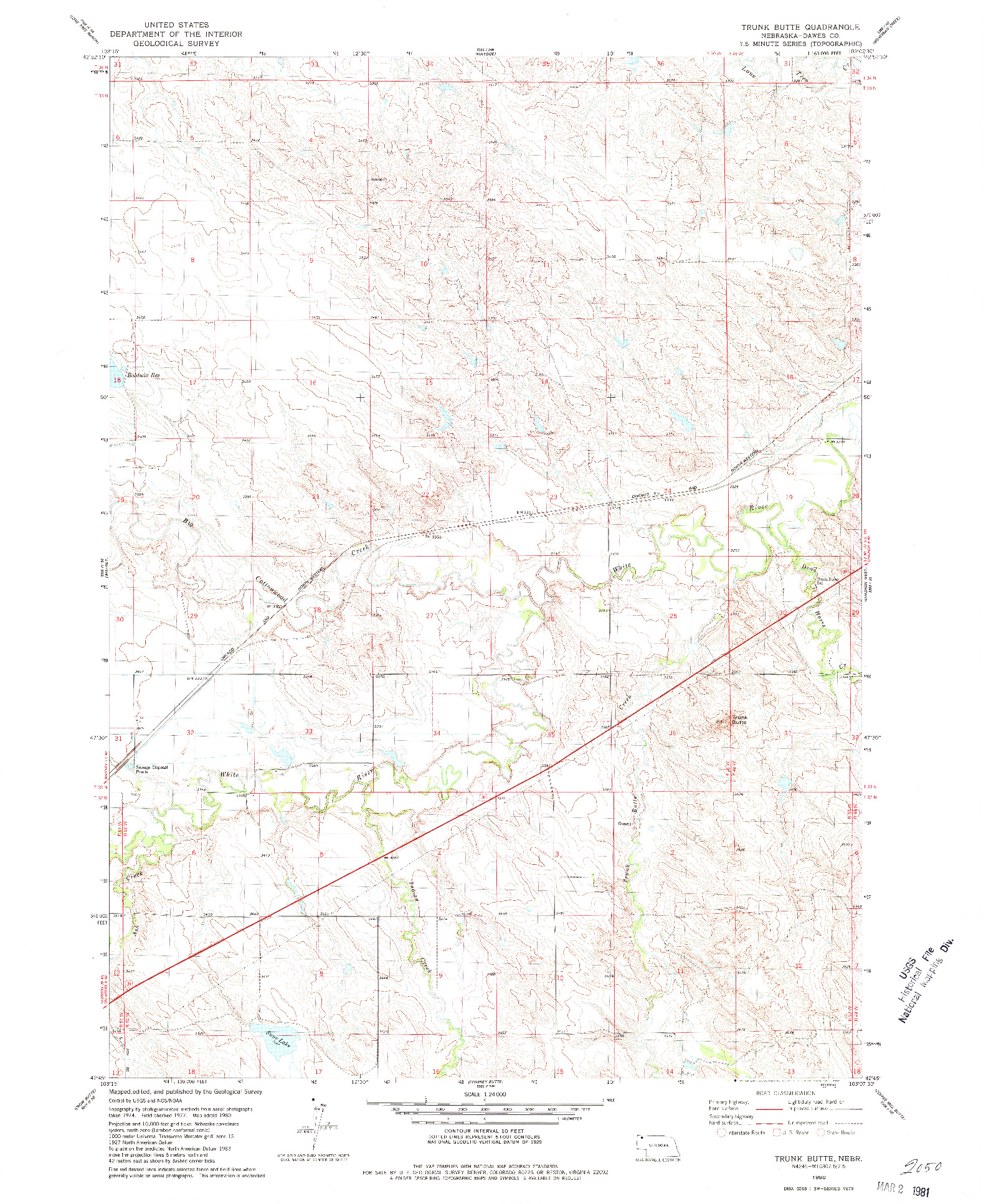 USGS 1:24000-SCALE QUADRANGLE FOR TRUNK BUTTE, NE 1980