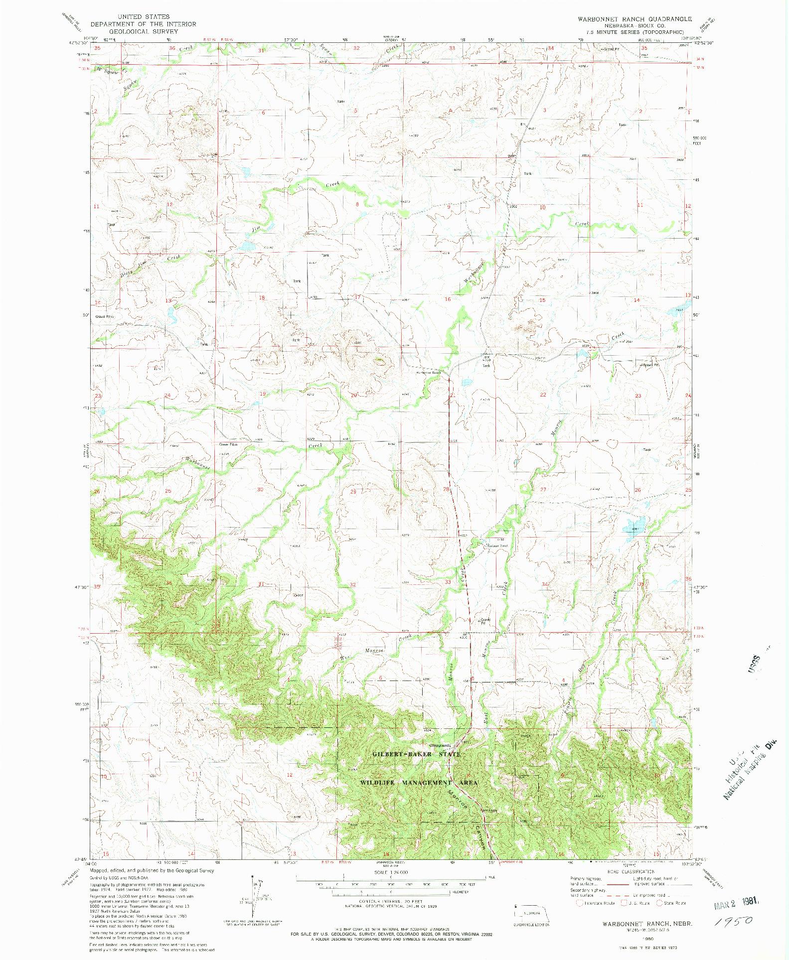 USGS 1:24000-SCALE QUADRANGLE FOR WARBONNET RANCH, NE 1980