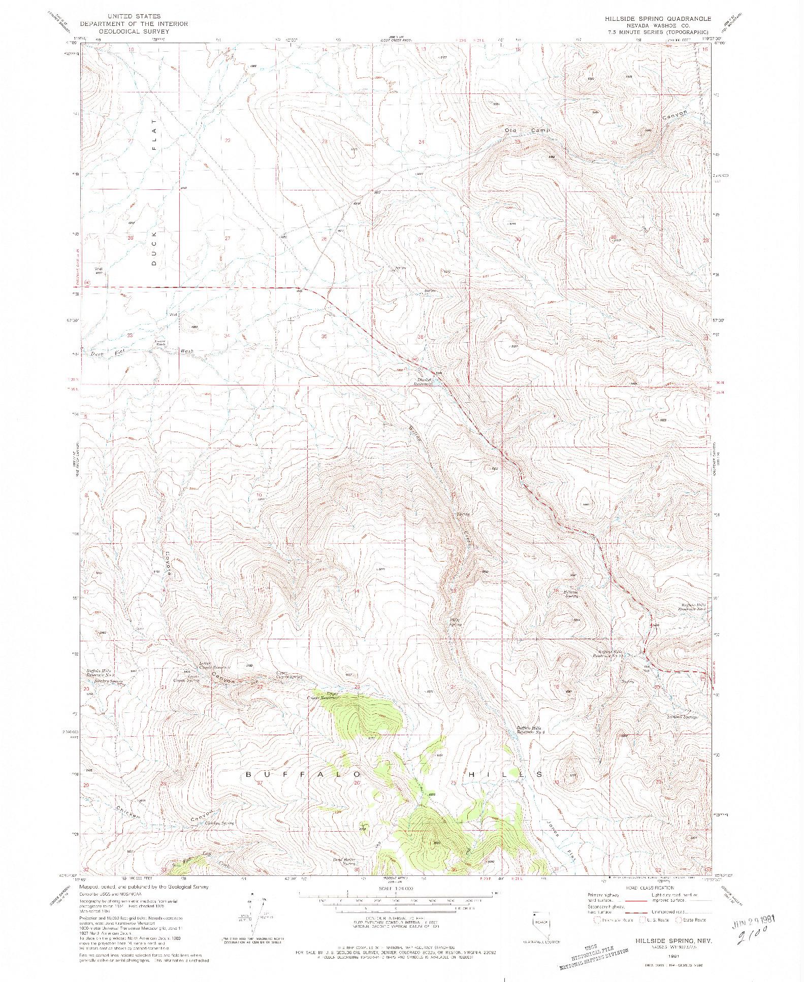 USGS 1:24000-SCALE QUADRANGLE FOR HILLSIDE SPRING, NV 1981