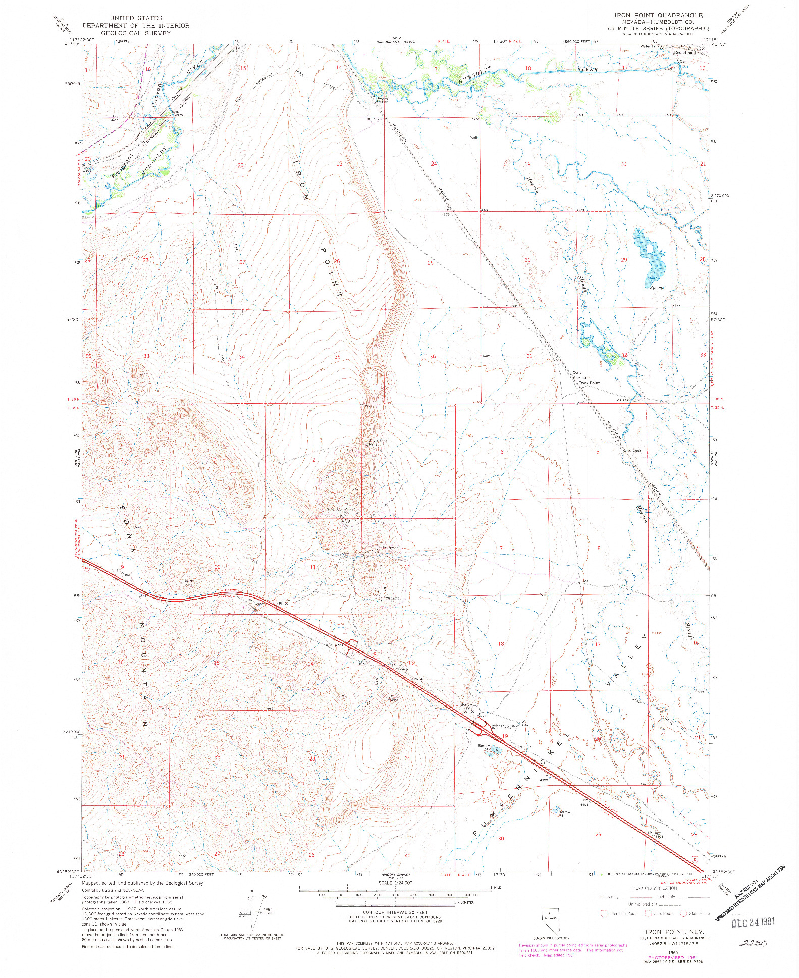 USGS 1:24000-SCALE QUADRANGLE FOR IRON POINT, NV 1965