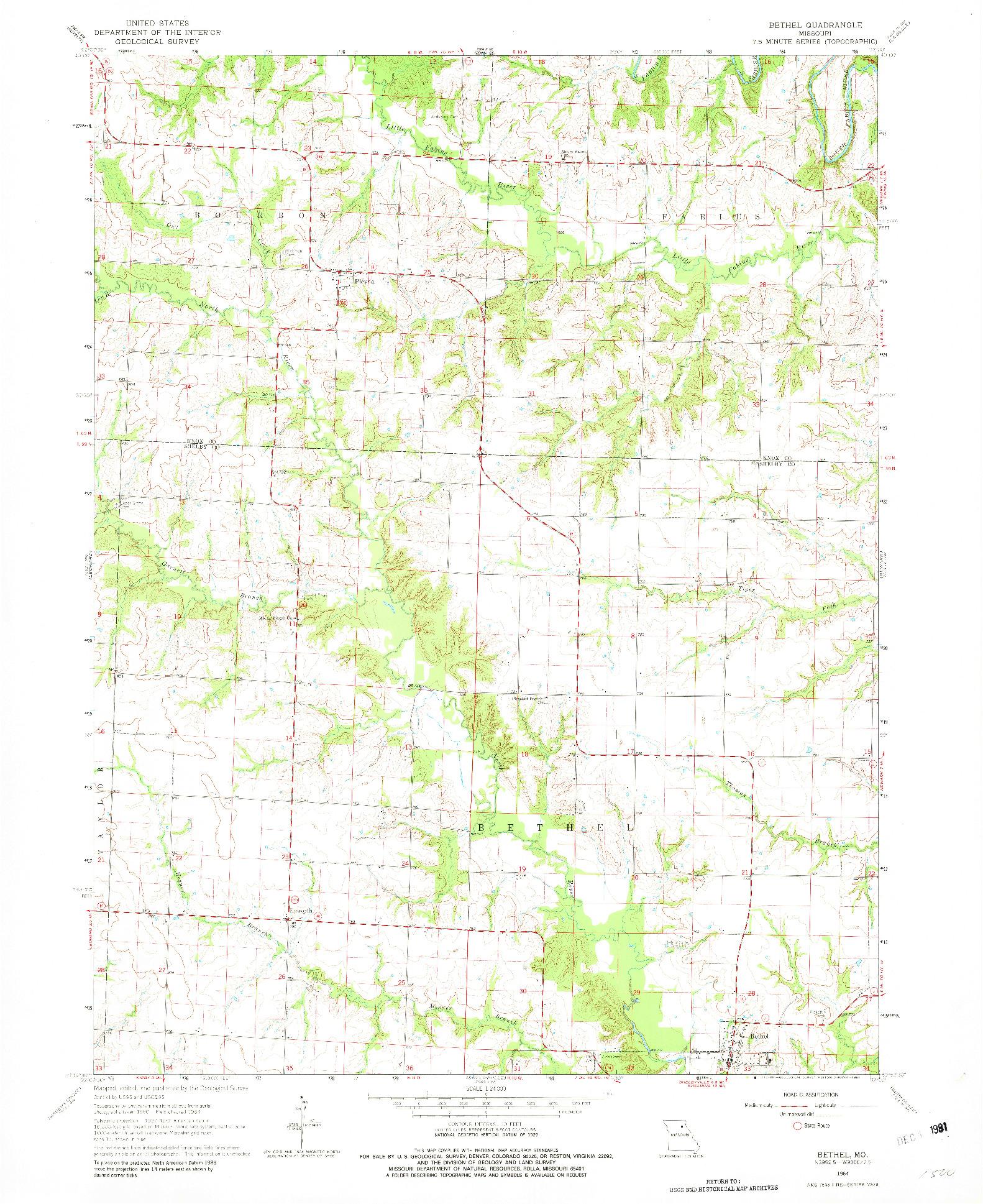 USGS 1:24000-SCALE QUADRANGLE FOR BETHEL, MO 1964