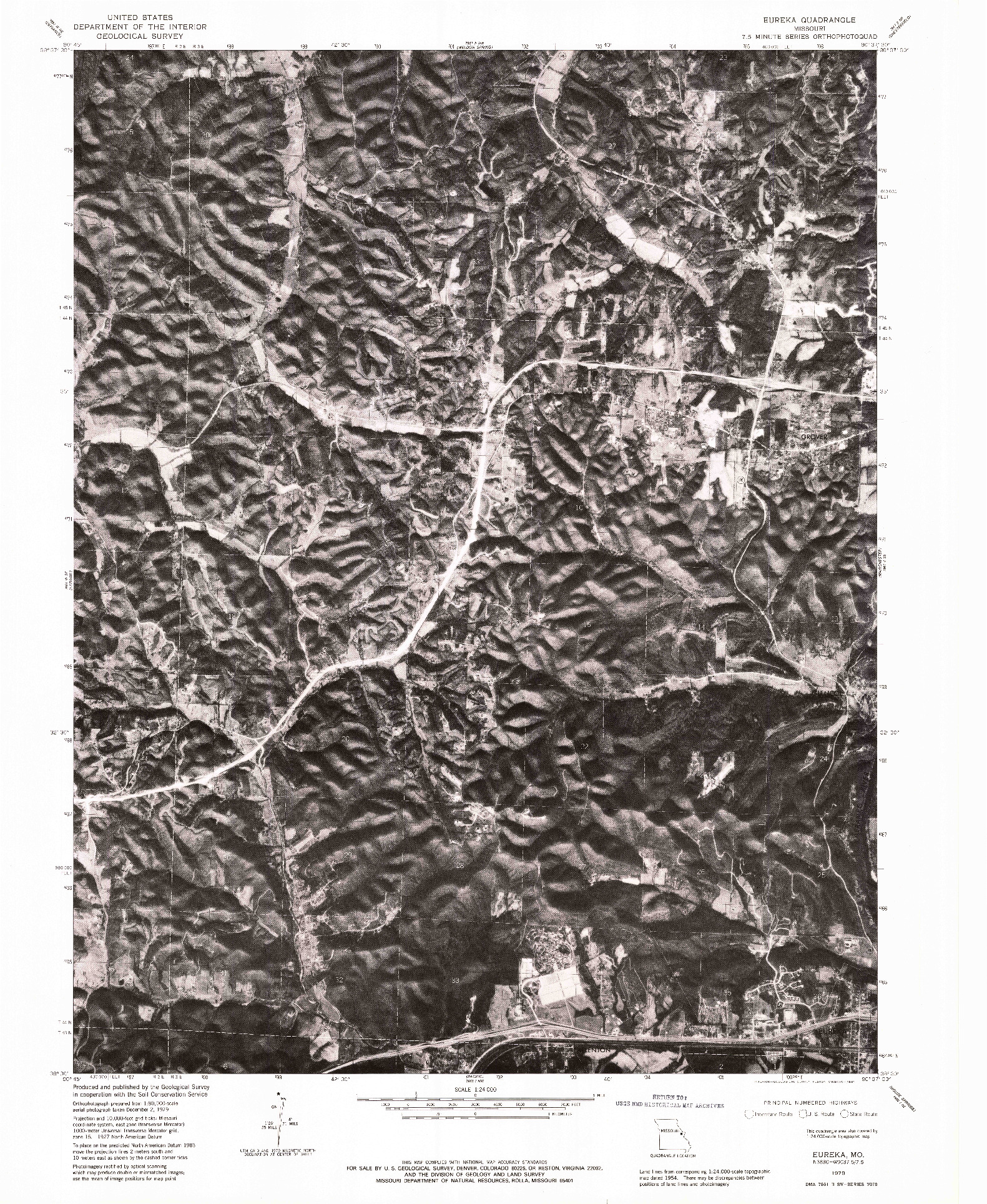 USGS 1:24000-SCALE QUADRANGLE FOR EUREKA, MO 1979