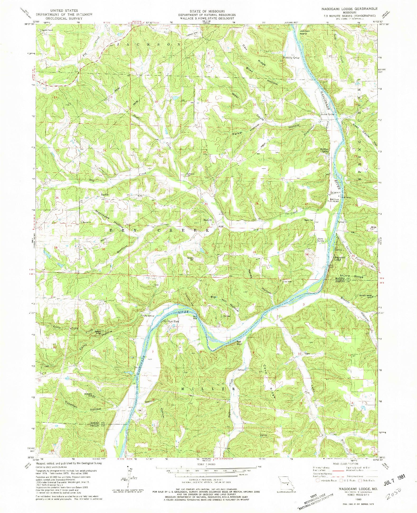 USGS 1:24000-SCALE QUADRANGLE FOR NAGOGAMI LODGE, MO 1980