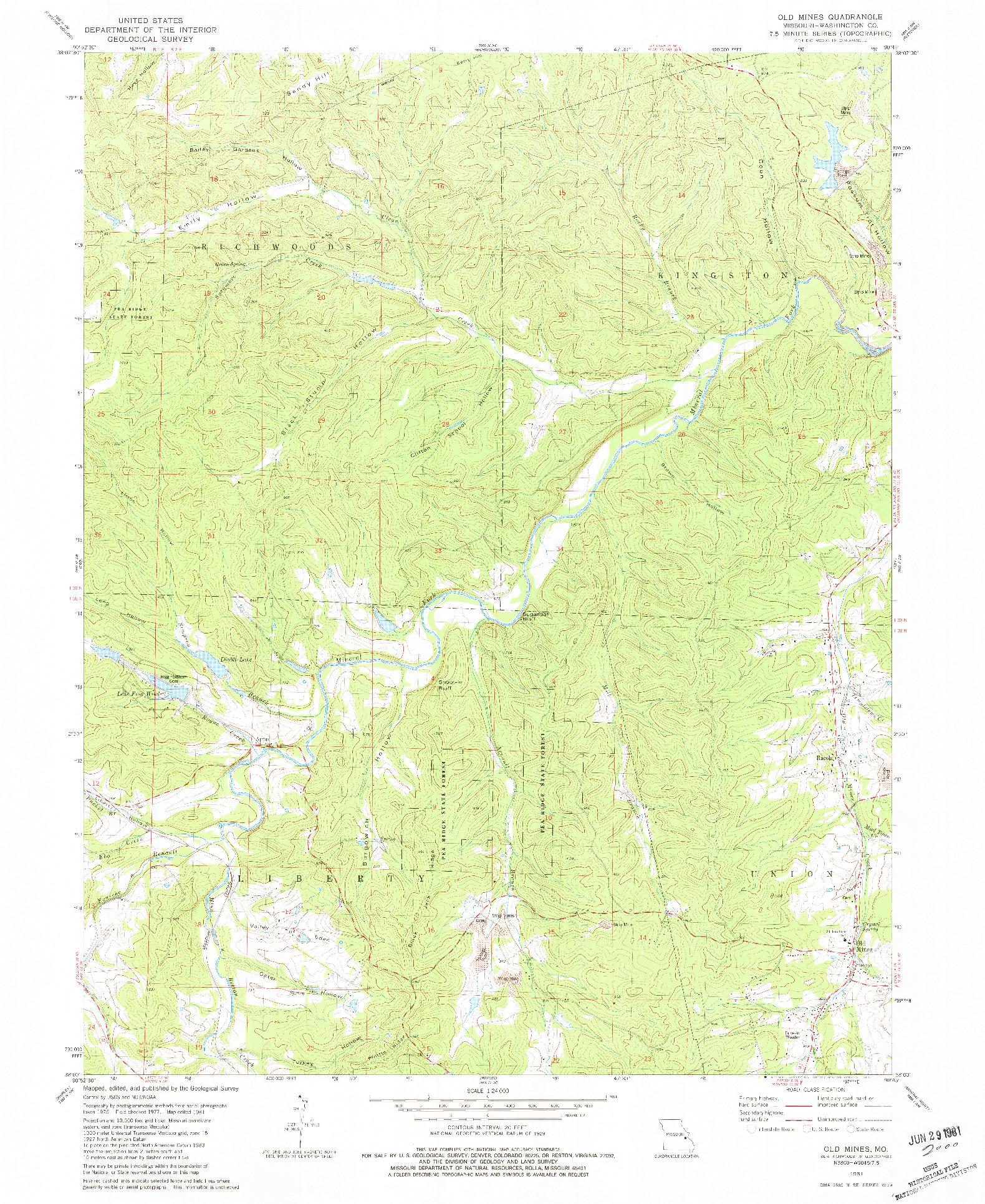 USGS 1:24000-SCALE QUADRANGLE FOR OLD MINES, MO 1981
