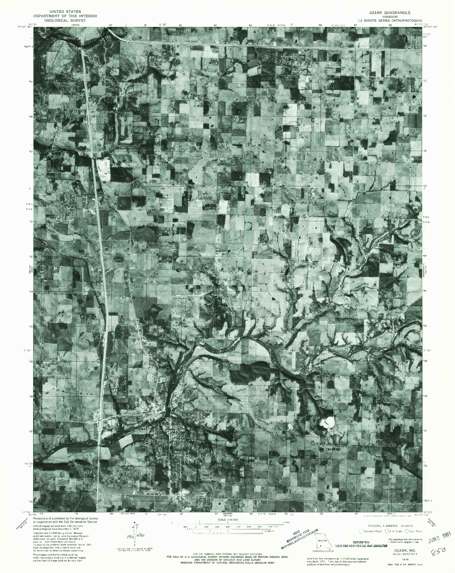 USGS 1:24000-SCALE QUADRANGLE FOR OZARK, MO 1979
