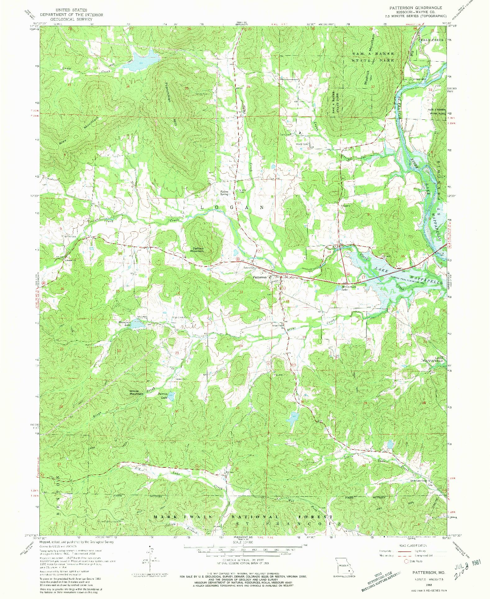 USGS 1:24000-SCALE QUADRANGLE FOR PATTERSON, MO 1968