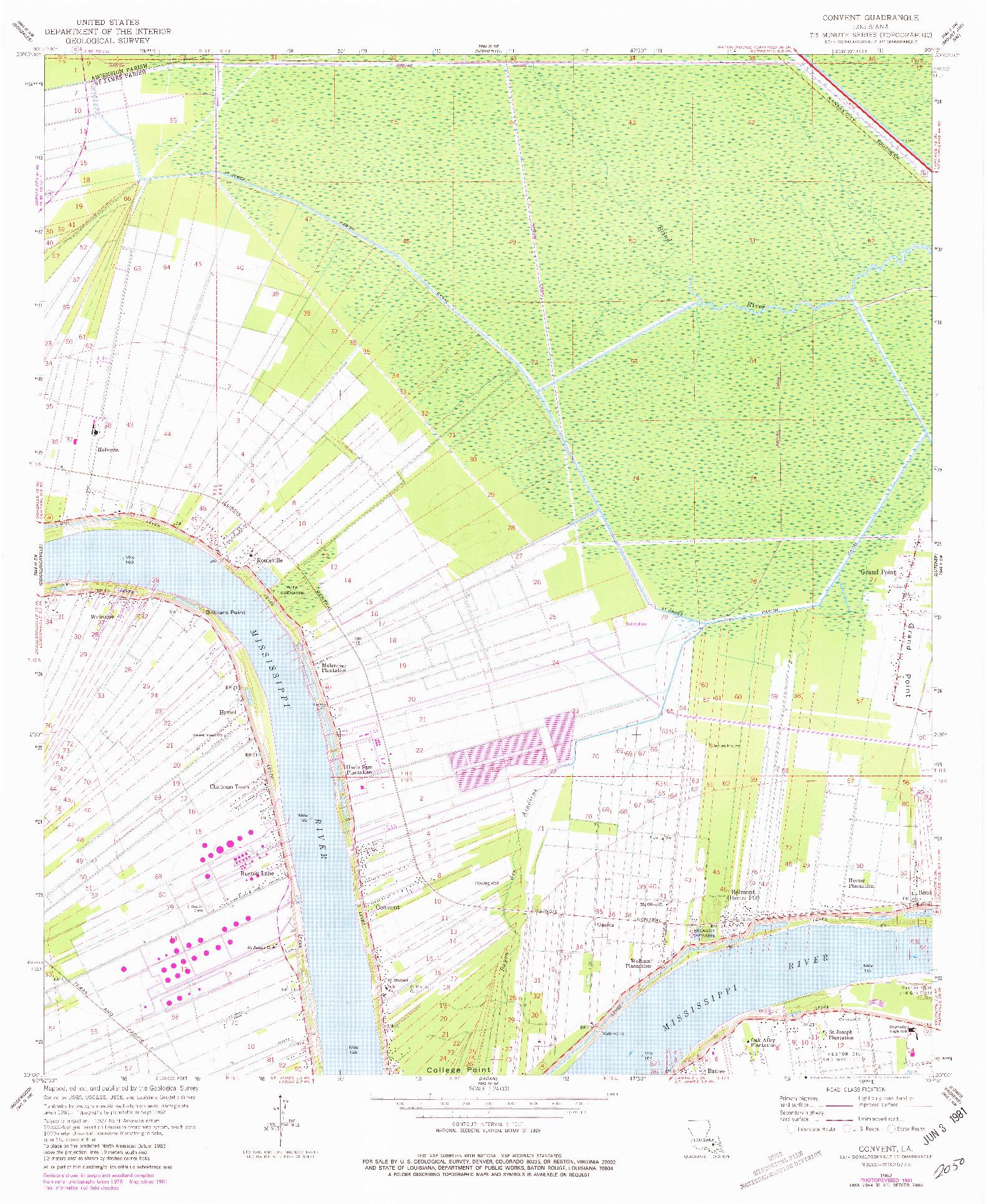 USGS 1:24000-SCALE QUADRANGLE FOR CONVENT, LA 1962