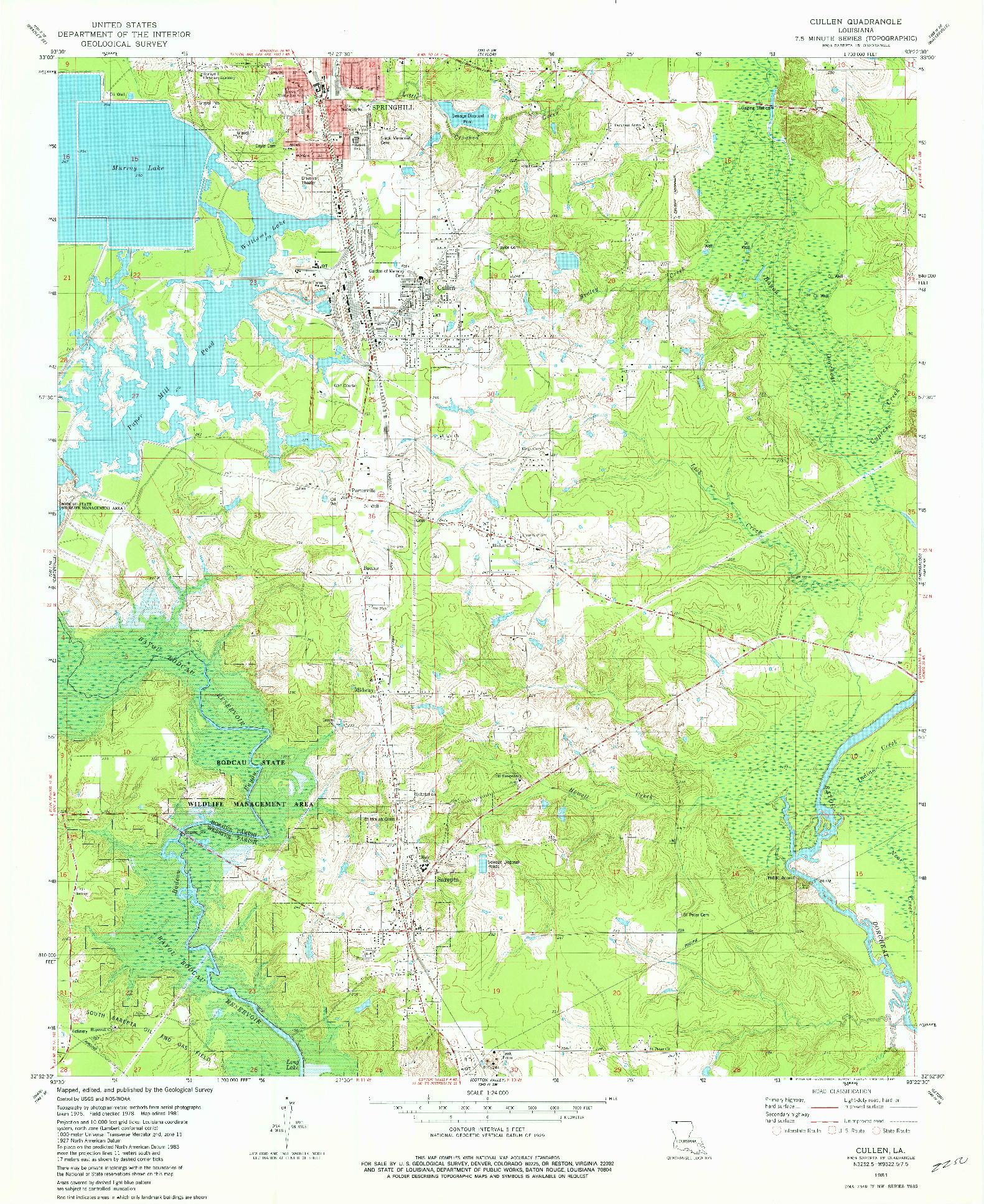 USGS 1:24000-SCALE QUADRANGLE FOR CULLEN, LA 1981