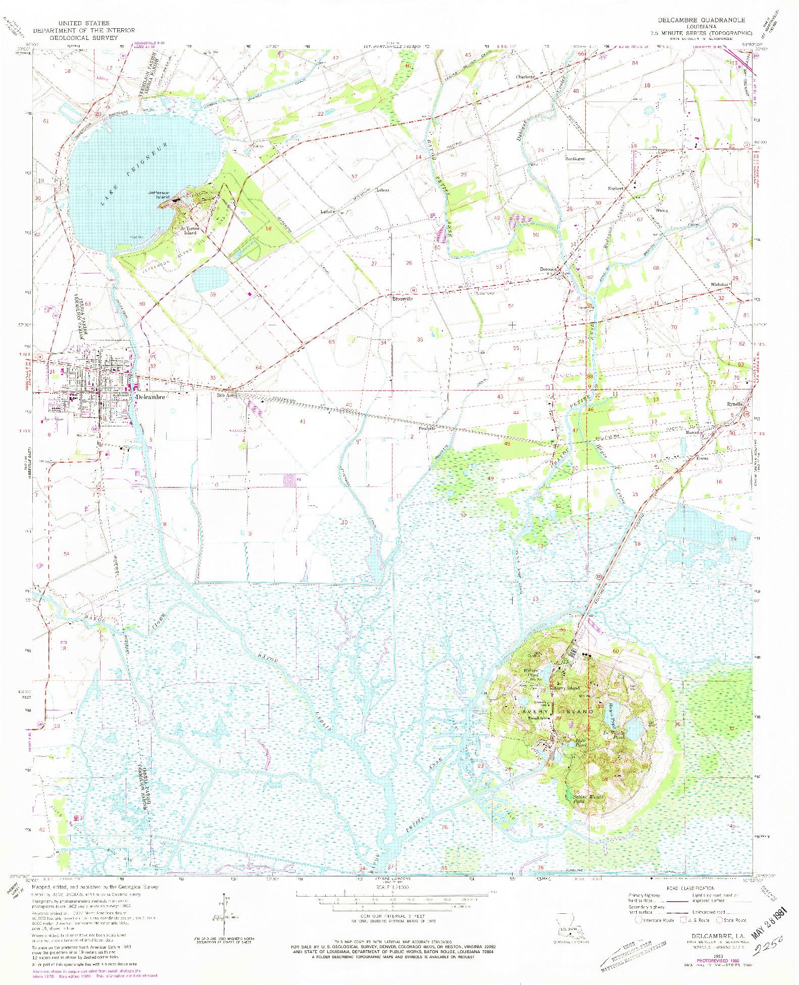 USGS 1:24000-SCALE QUADRANGLE FOR DELCAMBRE, LA 1963