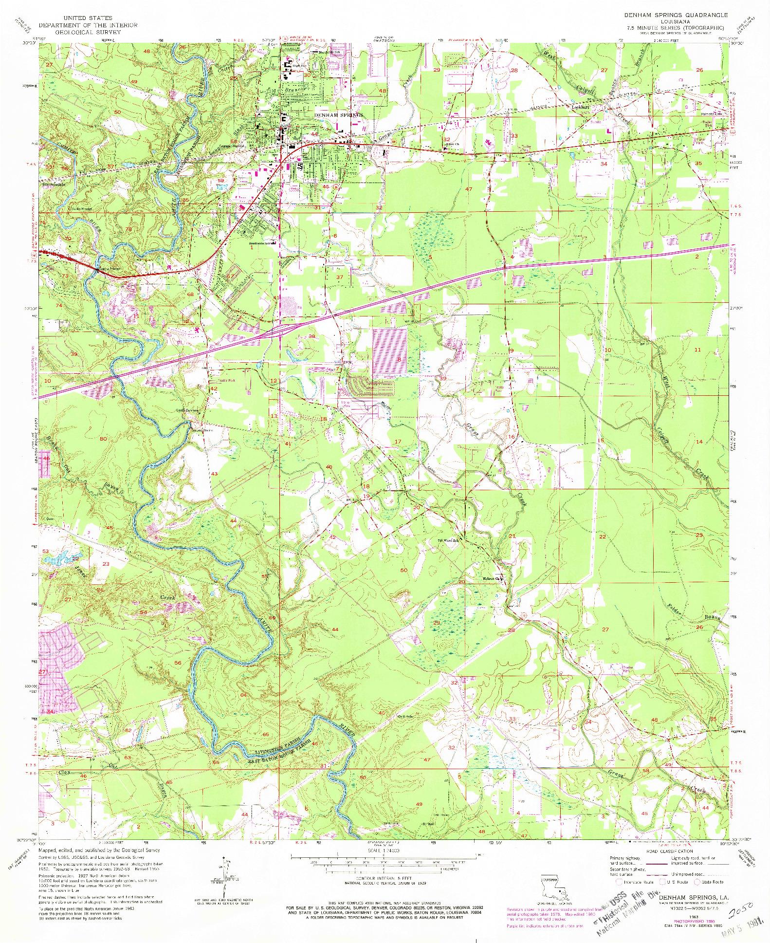 USGS 1:24000-SCALE QUADRANGLE FOR DENHAM SPRINGS, LA 1963