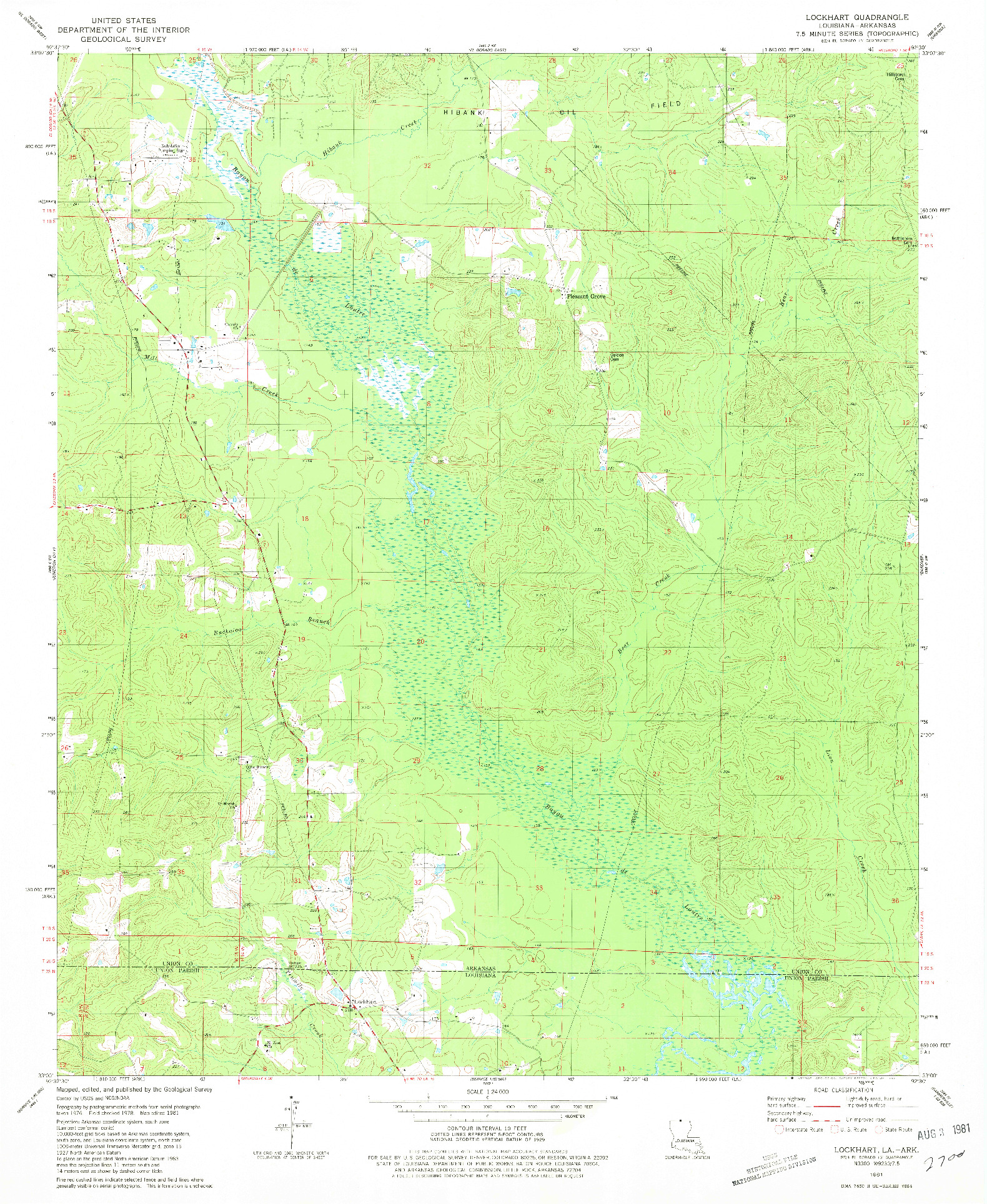 USGS 1:24000-SCALE QUADRANGLE FOR LOCKHART, LA 1981