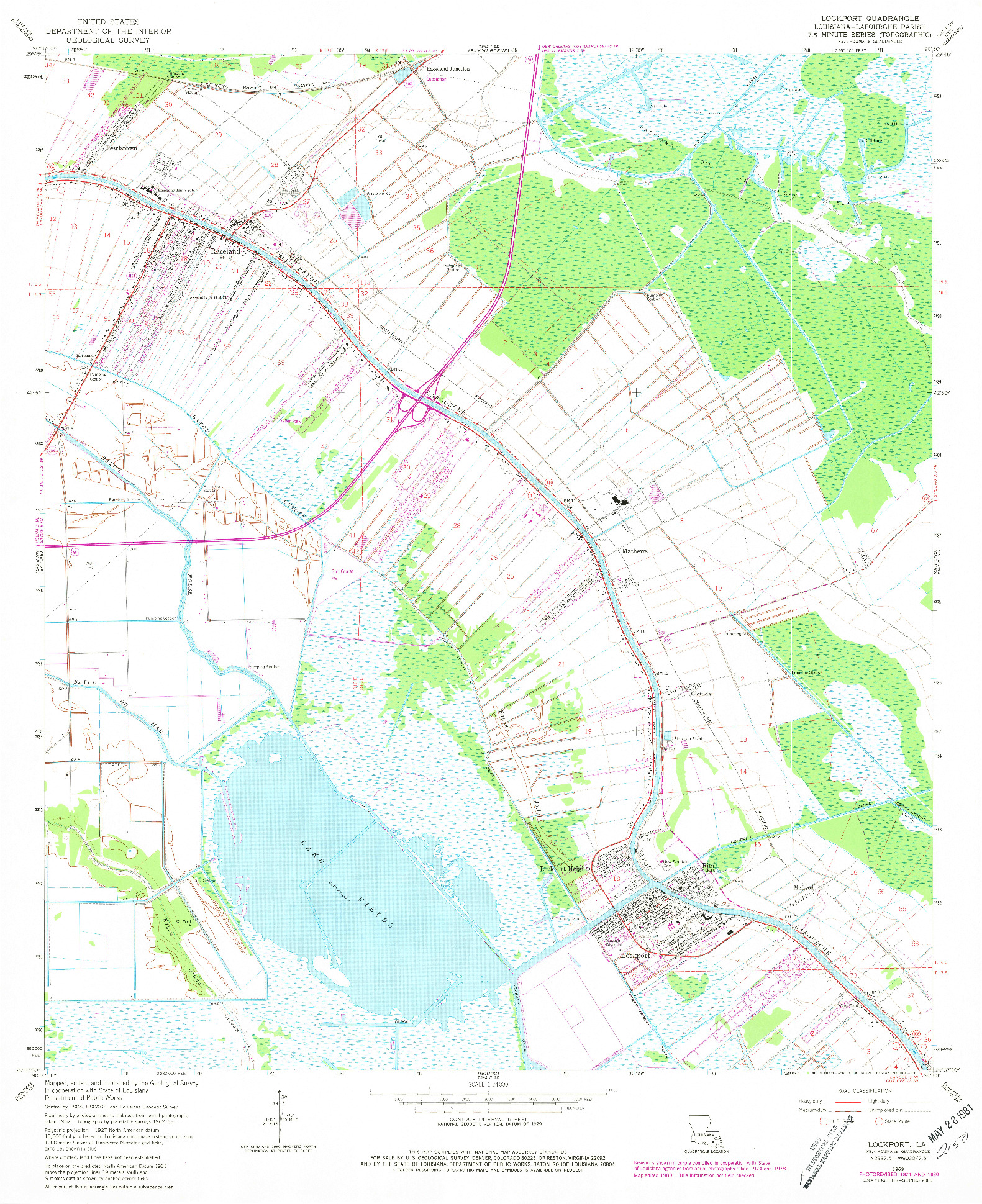 USGS 1:24000-SCALE QUADRANGLE FOR LOCKPORT, LA 1963