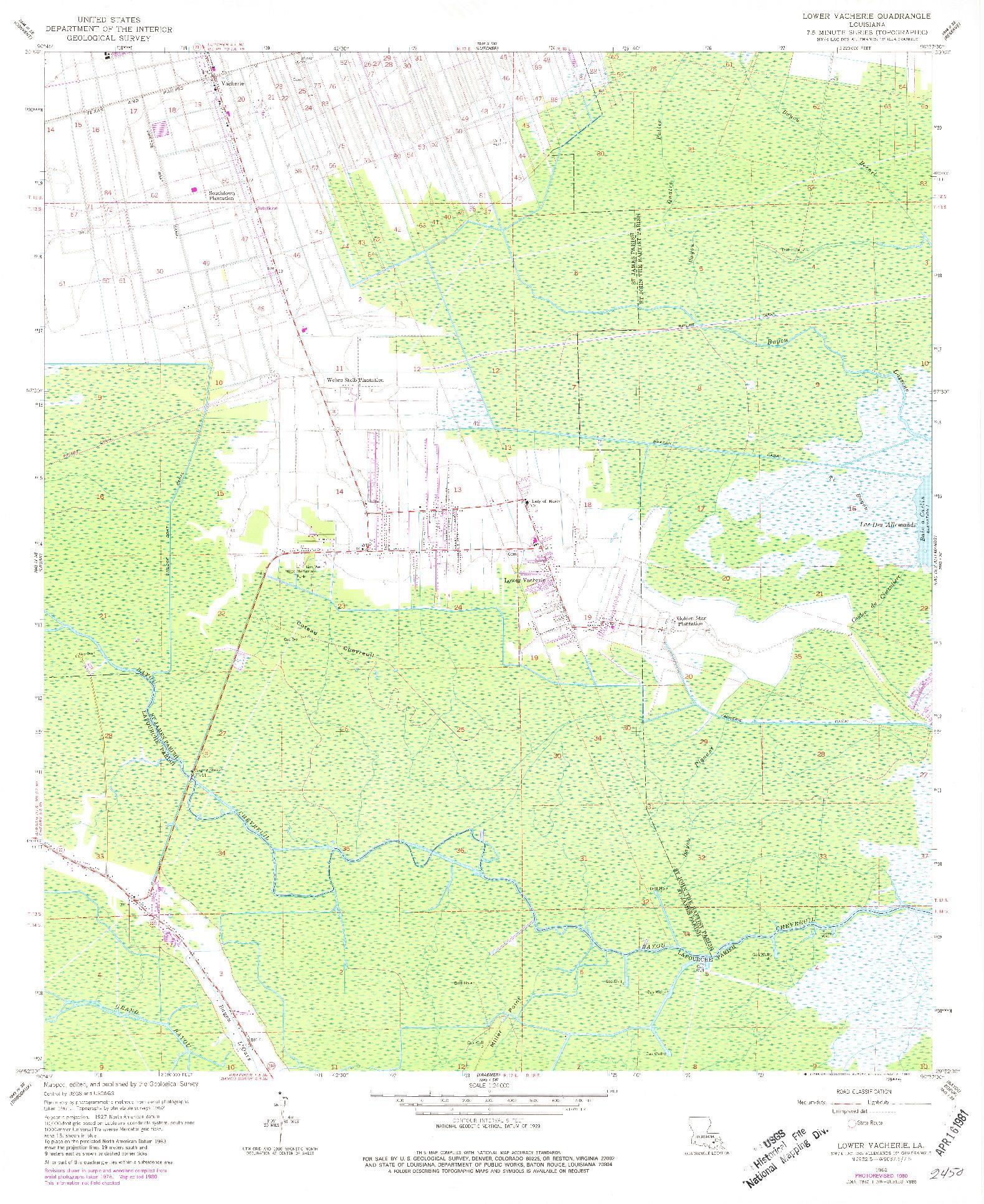 USGS 1:24000-SCALE QUADRANGLE FOR LOWER VACHERIE, LA 1962