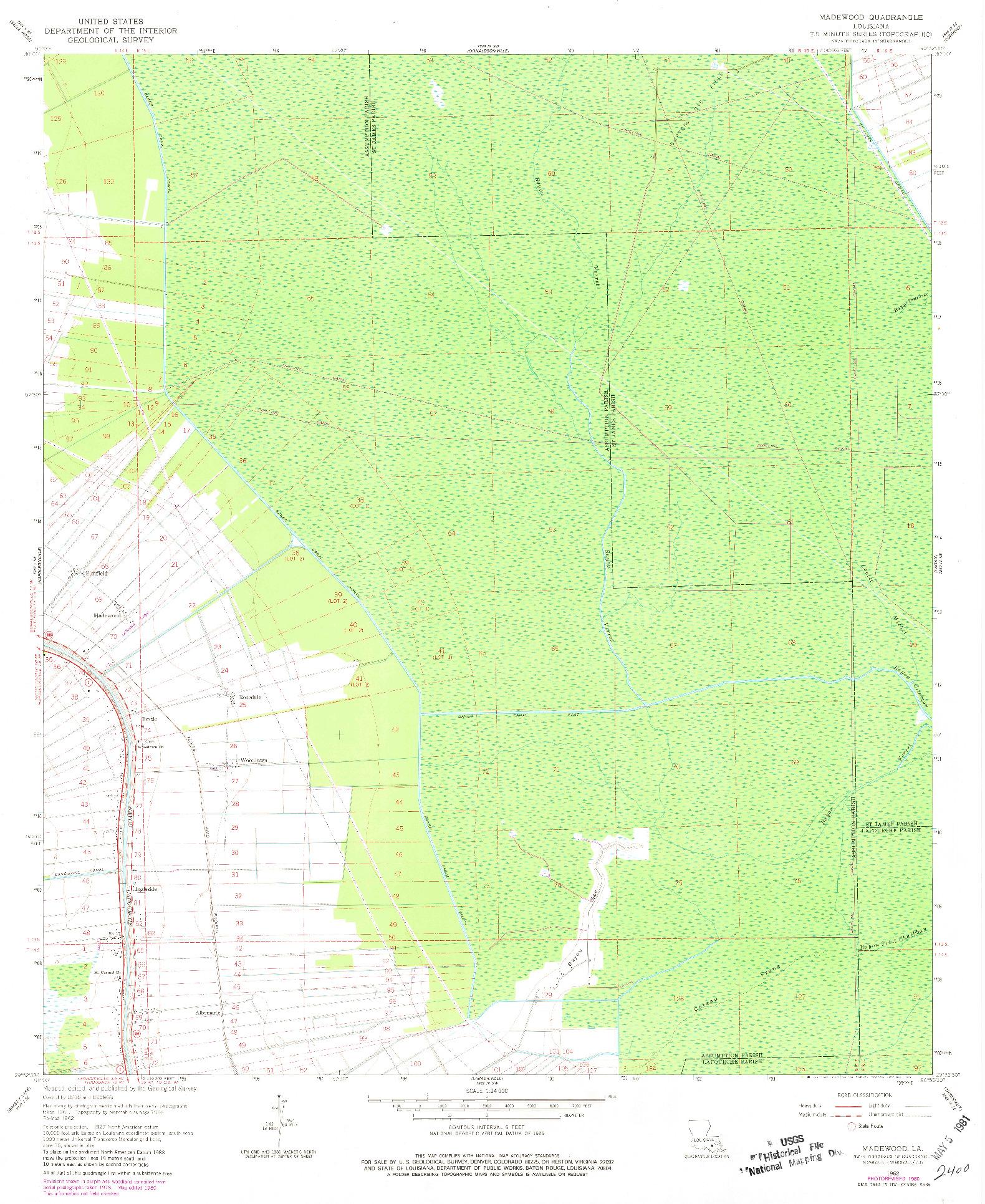 USGS 1:24000-SCALE QUADRANGLE FOR MADEWOOD, LA 1962