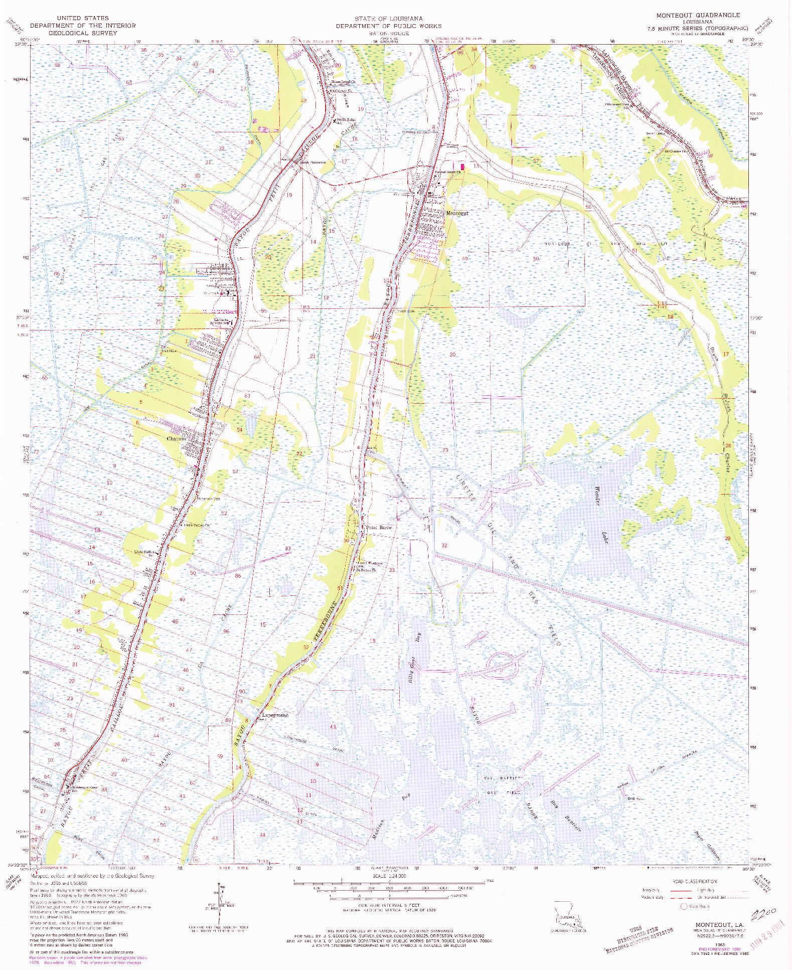 USGS 1:24000-SCALE QUADRANGLE FOR MONTEGUT, LA 1963
