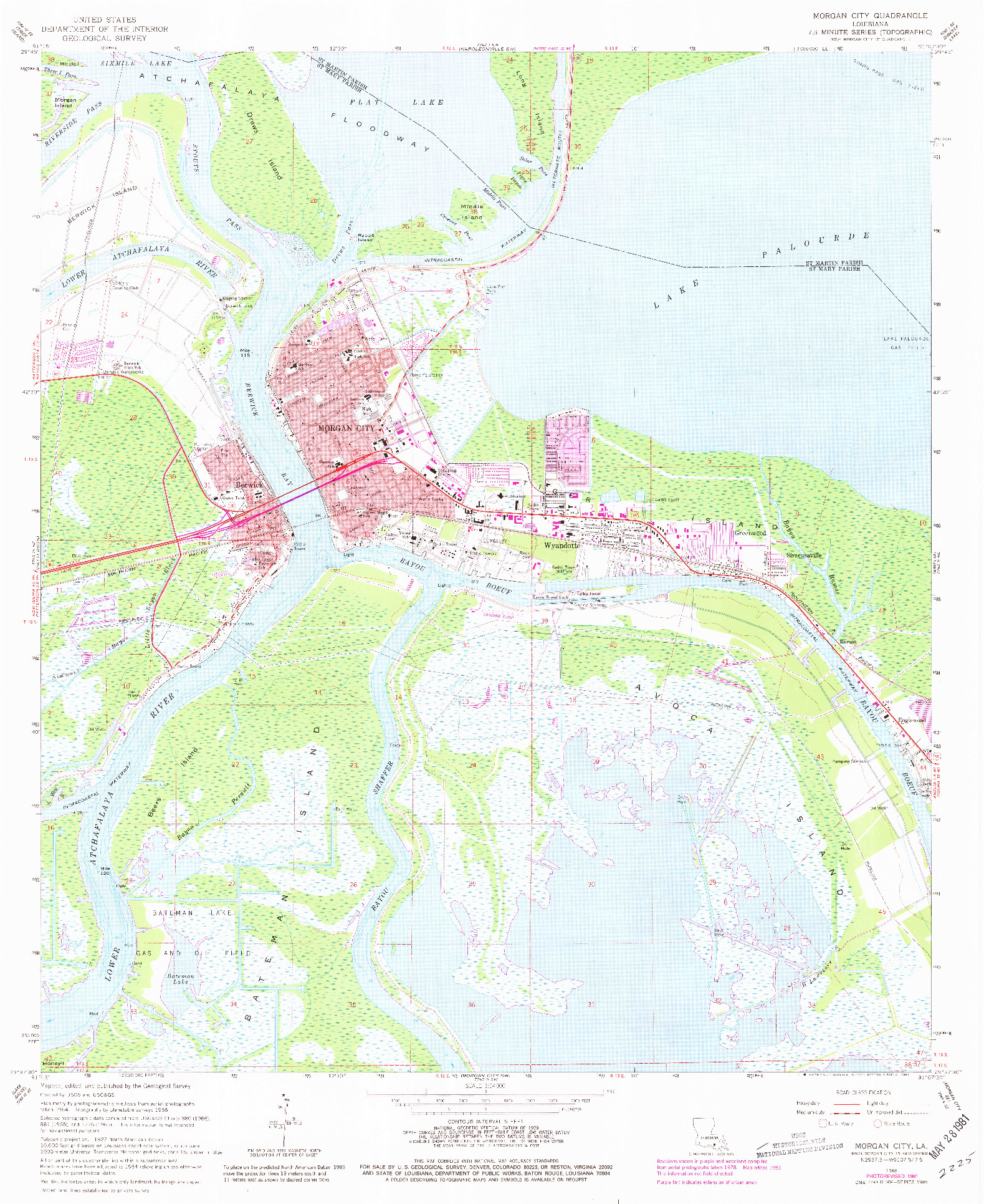USGS 1:24000-SCALE QUADRANGLE FOR MORGAN CITY, LA 1966