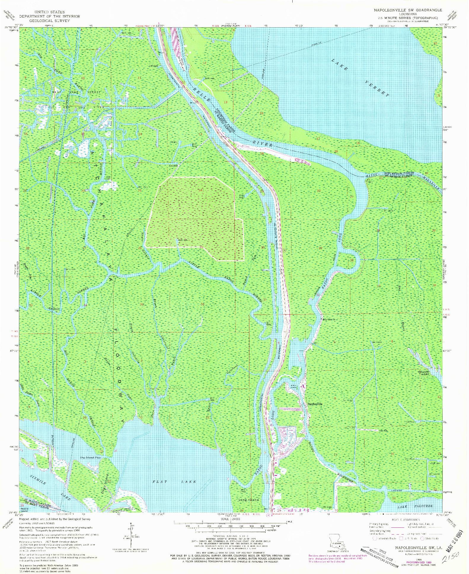 USGS 1:24000-SCALE QUADRANGLE FOR NAPOLEONVILLE SW, LA 1966