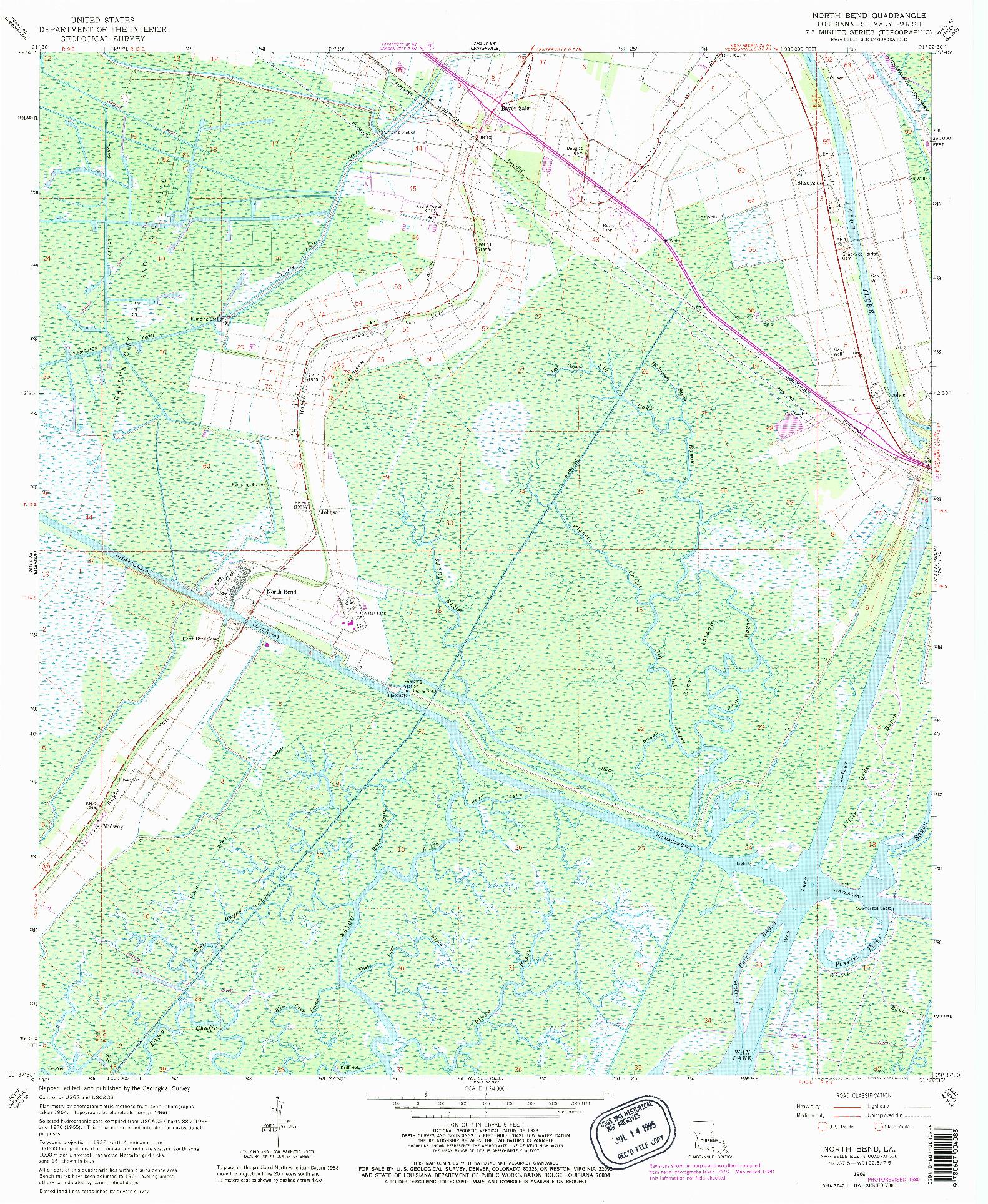 USGS 1:24000-SCALE QUADRANGLE FOR NORTH BEND, LA 1966